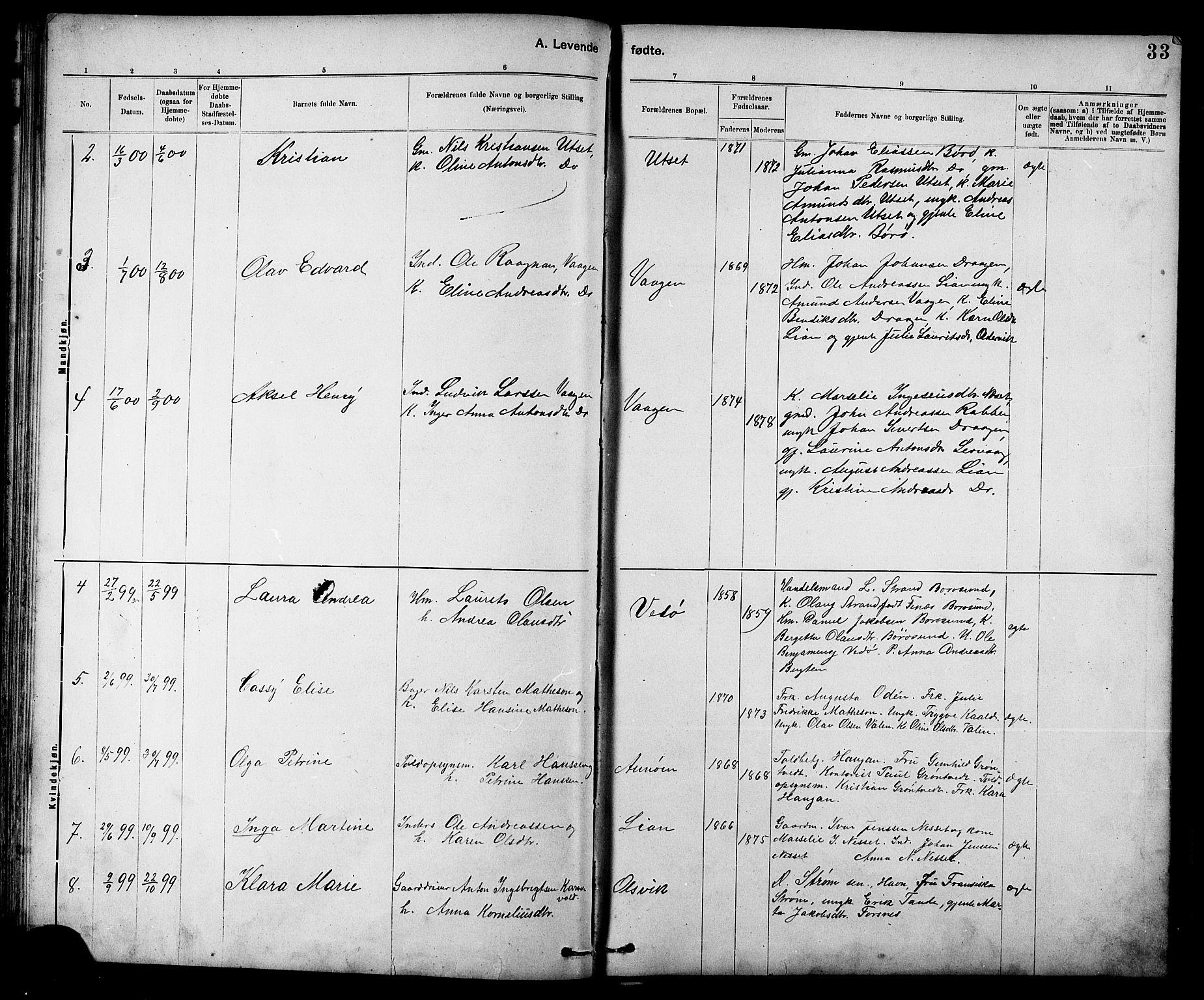SAT, Ministerialprotokoller, klokkerbøker og fødselsregistre - Sør-Trøndelag, 639/L0573: Klokkerbok nr. 639C01, 1890-1905, s. 33
