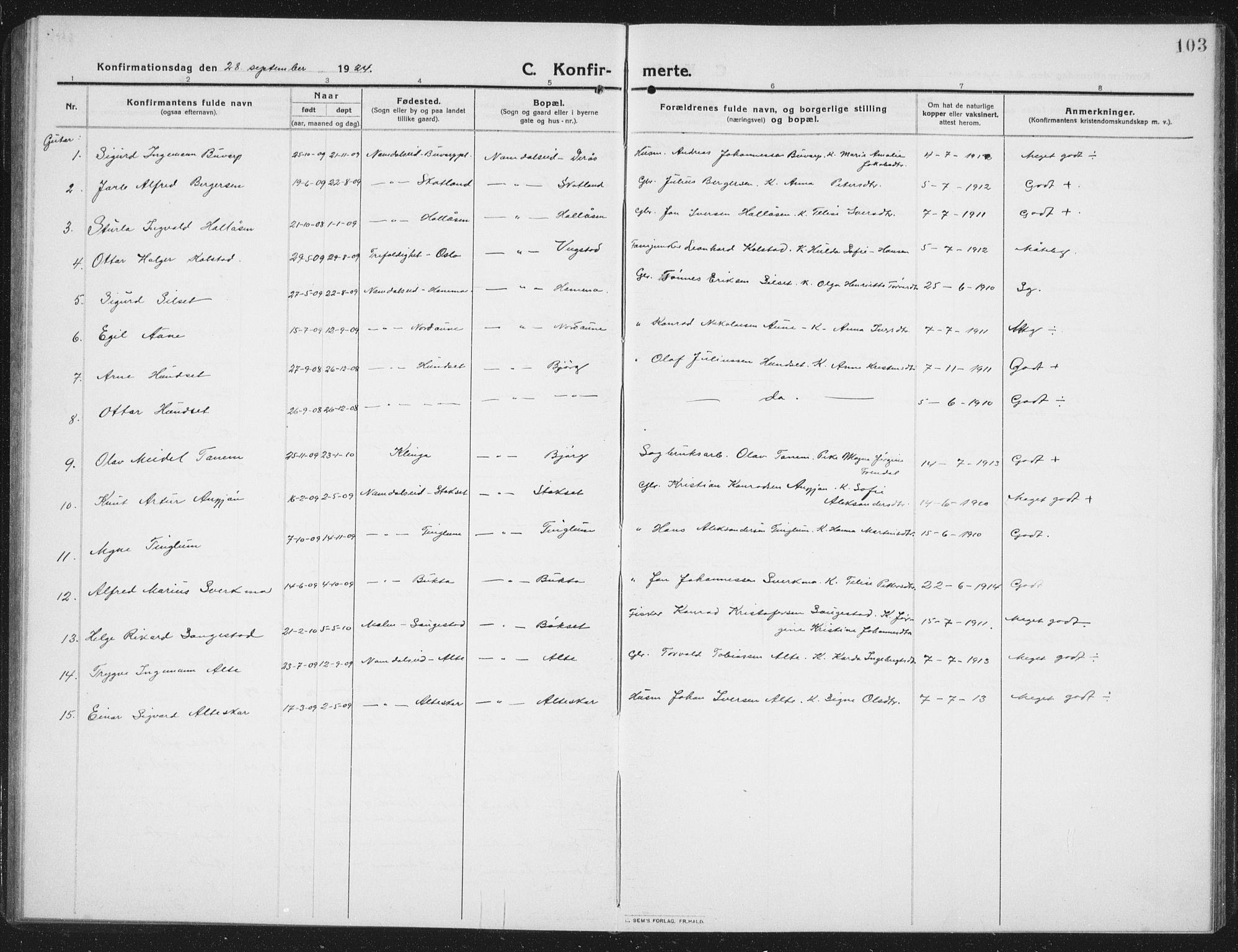 SAT, Ministerialprotokoller, klokkerbøker og fødselsregistre - Nord-Trøndelag, 742/L0413: Klokkerbok nr. 742C04, 1911-1938, s. 103