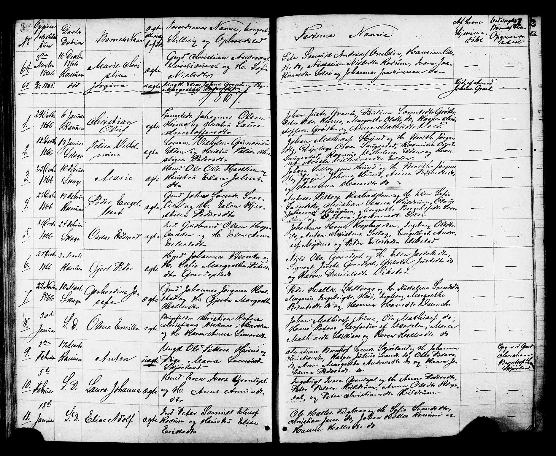 SAT, Ministerialprotokoller, klokkerbøker og fødselsregistre - Nord-Trøndelag, 764/L0553: Ministerialbok nr. 764A08, 1858-1880, s. 27