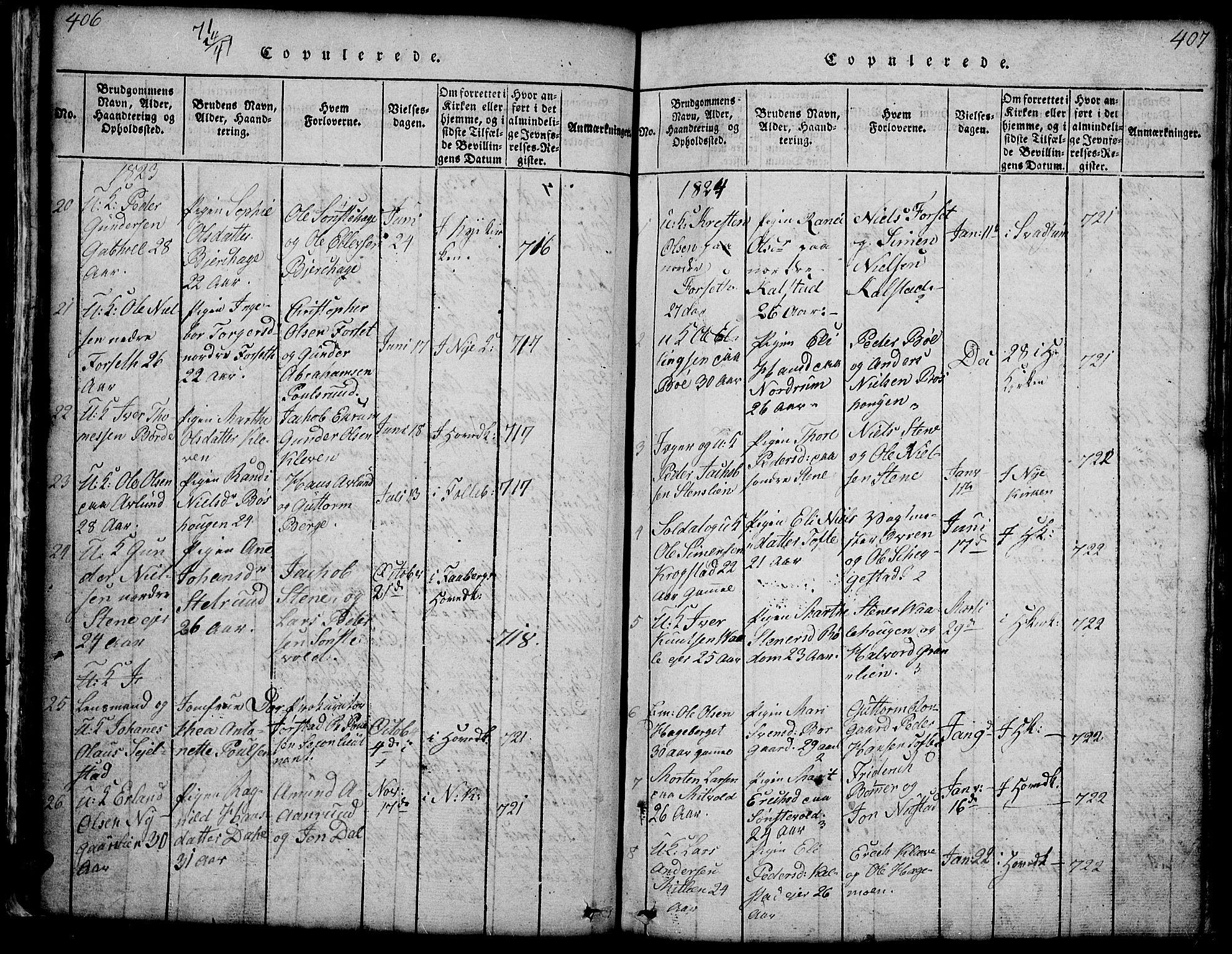 SAH, Gausdal prestekontor, Klokkerbok nr. 1, 1817-1848, s. 406-407