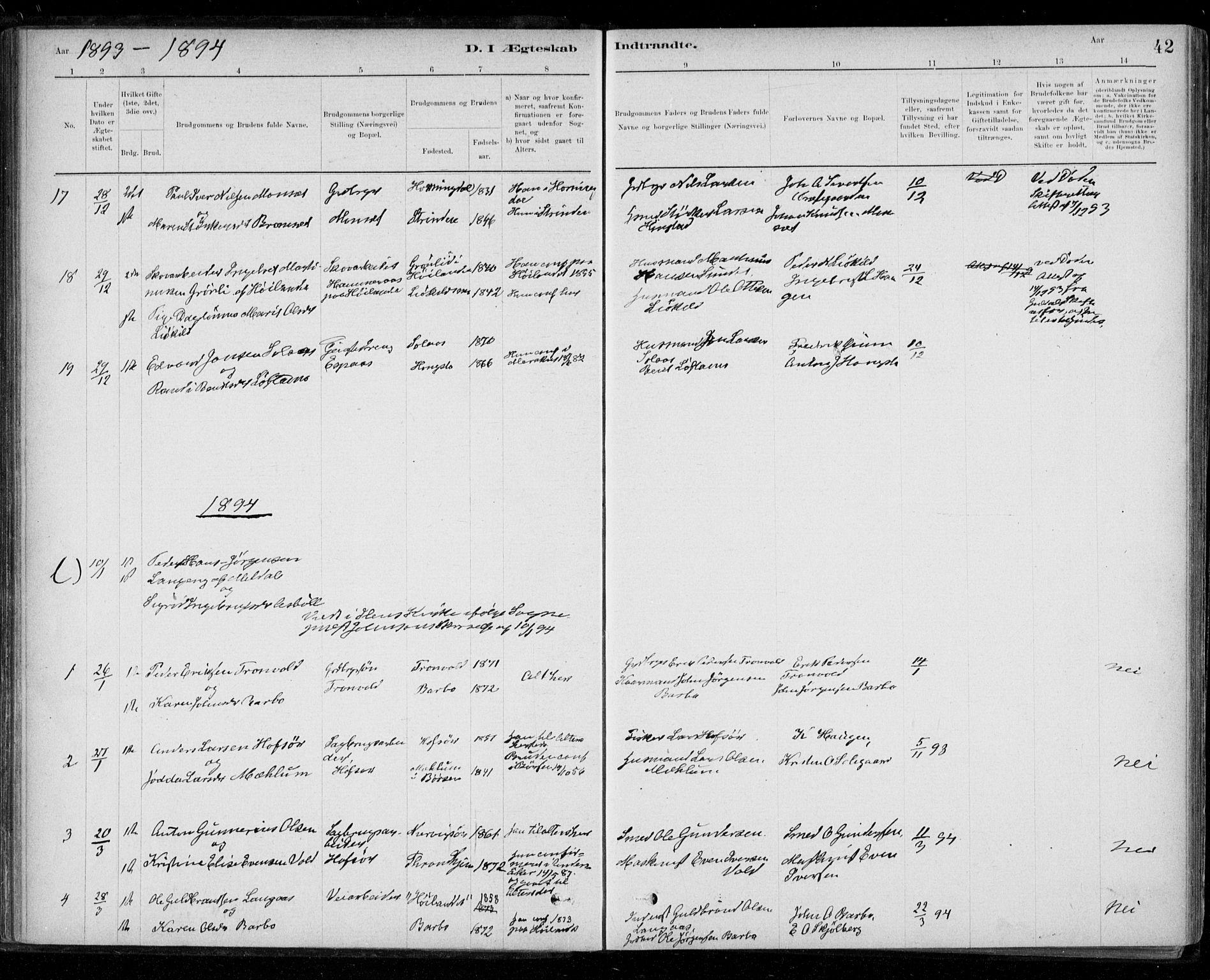 SAT, Ministerialprotokoller, klokkerbøker og fødselsregistre - Sør-Trøndelag, 668/L0810: Ministerialbok nr. 668A10, 1881-1894, s. 42