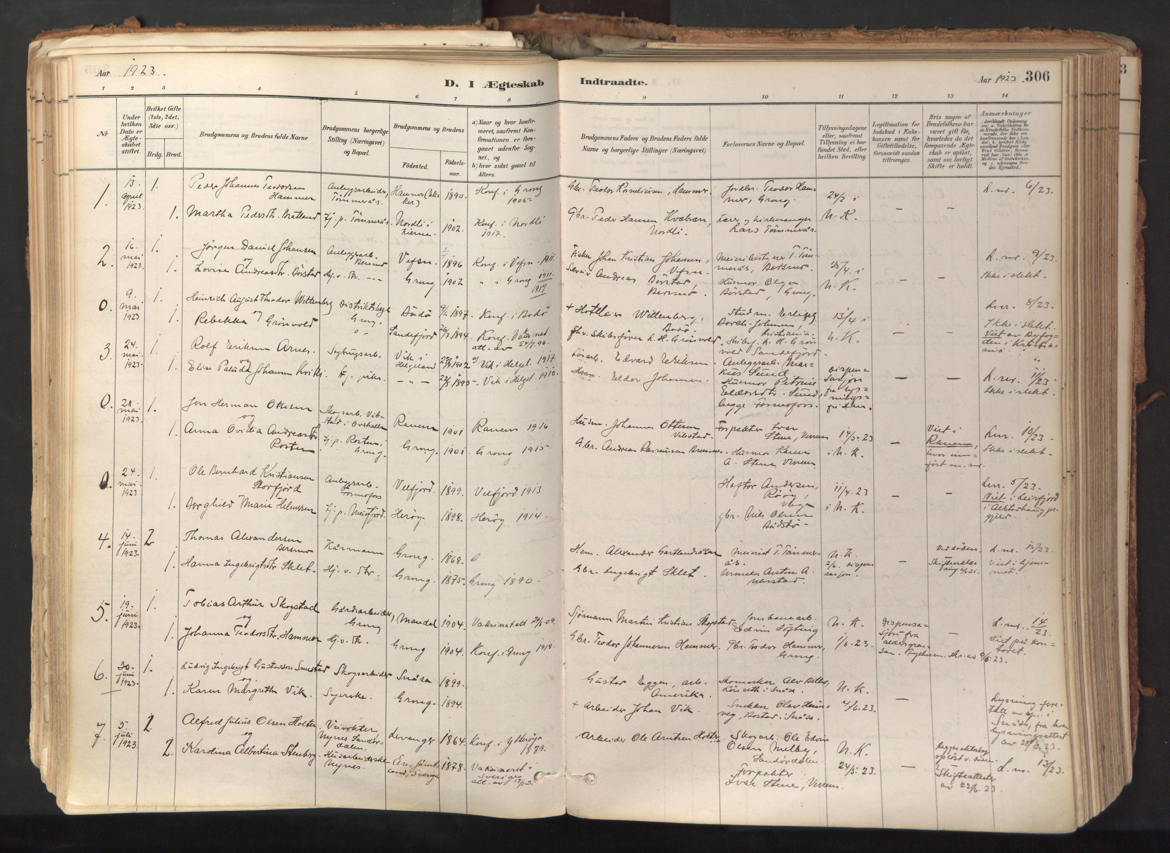 SAT, Ministerialprotokoller, klokkerbøker og fødselsregistre - Nord-Trøndelag, 758/L0519: Ministerialbok nr. 758A04, 1880-1926, s. 306