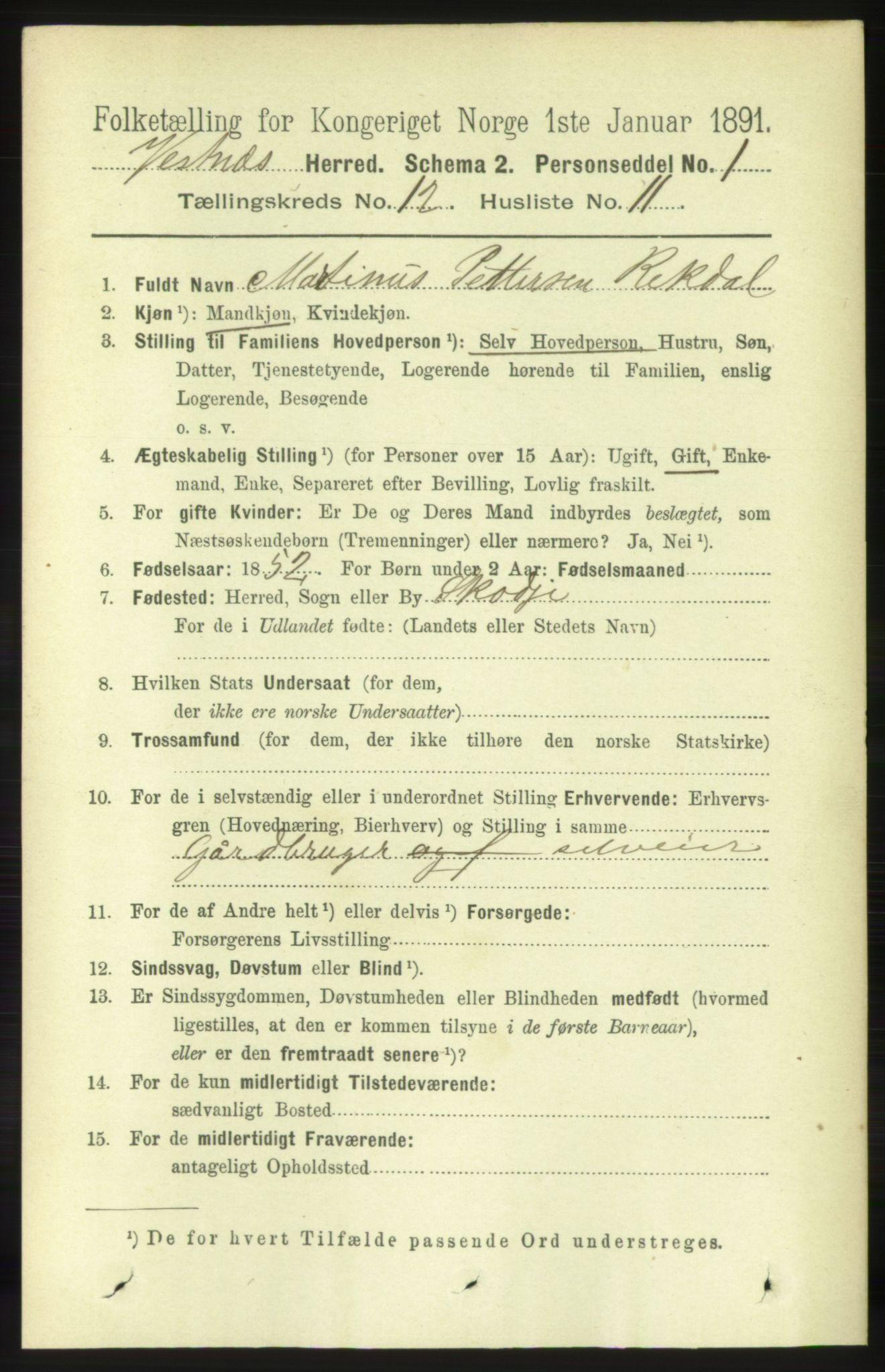 RA, Folketelling 1891 for 1535 Vestnes herred, 1891, s. 4470
