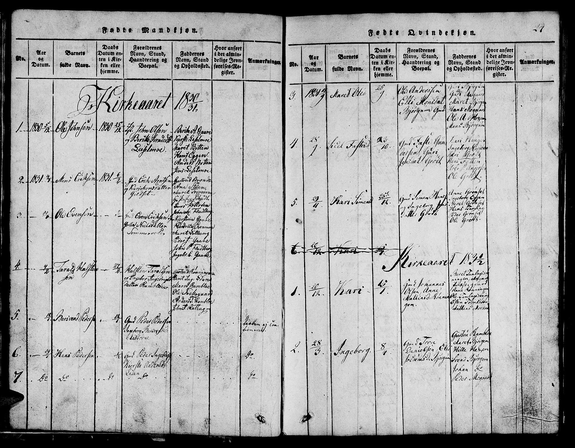 SAT, Ministerialprotokoller, klokkerbøker og fødselsregistre - Sør-Trøndelag, 685/L0976: Klokkerbok nr. 685C01, 1817-1878, s. 24
