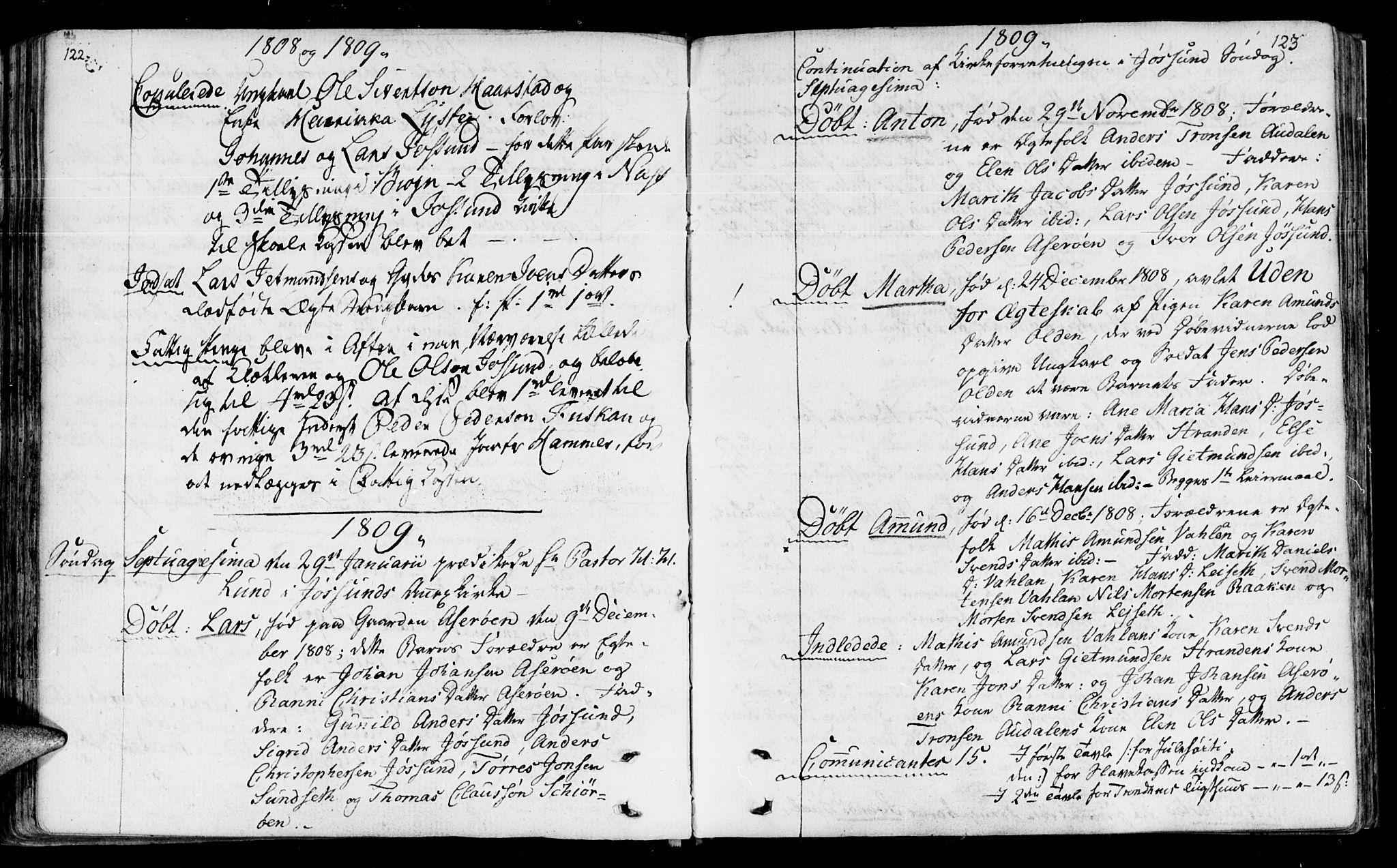 SAT, Ministerialprotokoller, klokkerbøker og fødselsregistre - Sør-Trøndelag, 655/L0674: Ministerialbok nr. 655A03, 1802-1826, s. 122-123