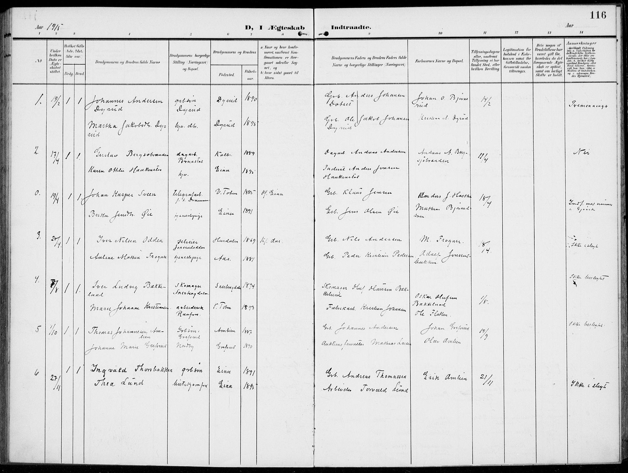 SAH, Kolbu prestekontor, Ministerialbok nr. 1, 1907-1923, s. 116