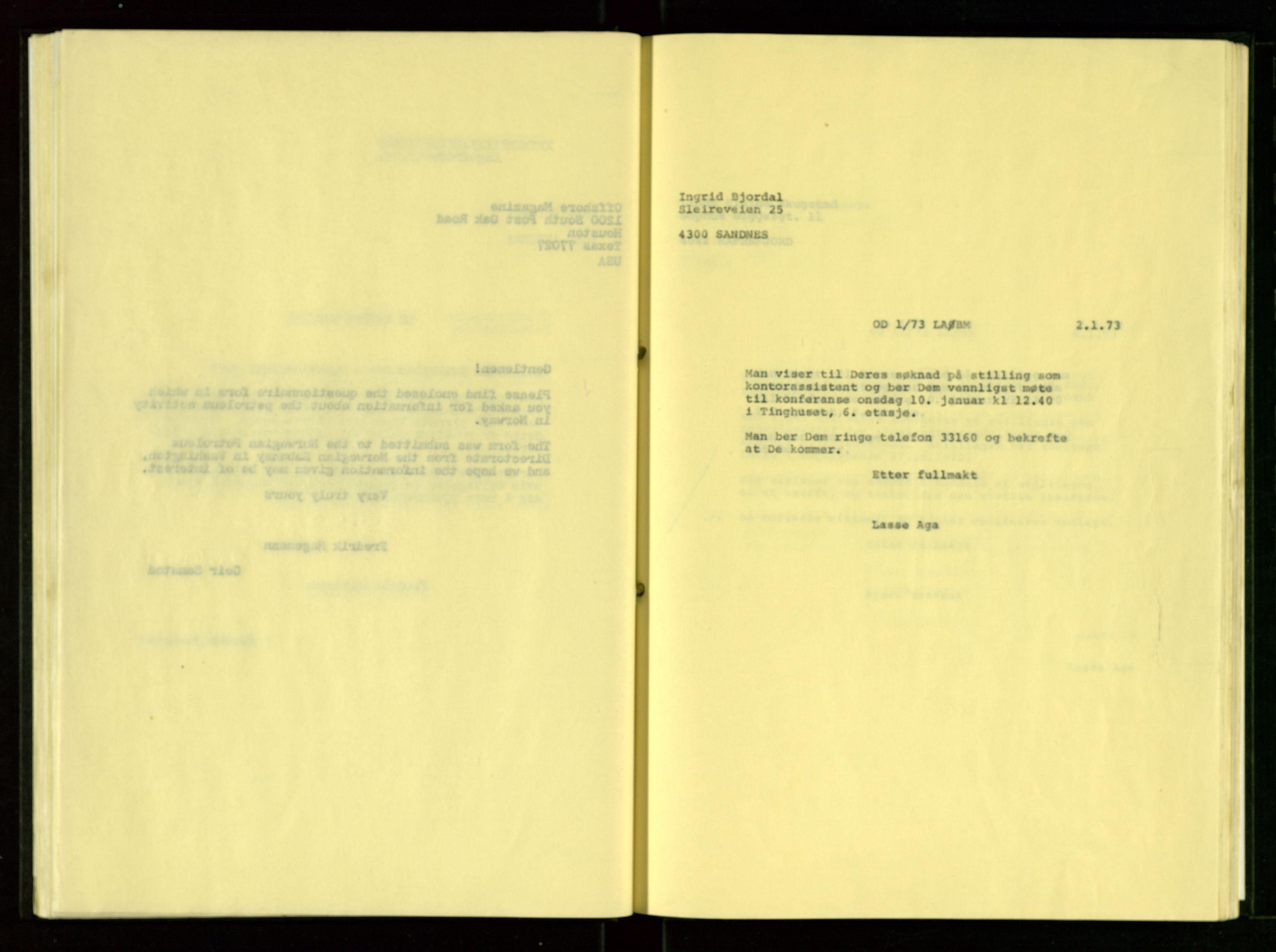 SAST, Oljedirektoratet, Ba/L0001: Kopibok, 1972-1973