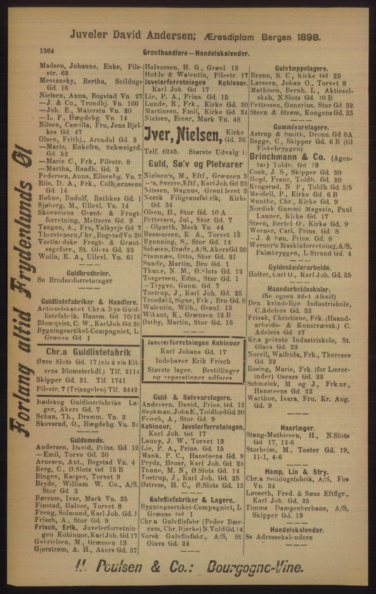 RA, Kristiania adressebok (publikasjon)*, 1905, s. 1364