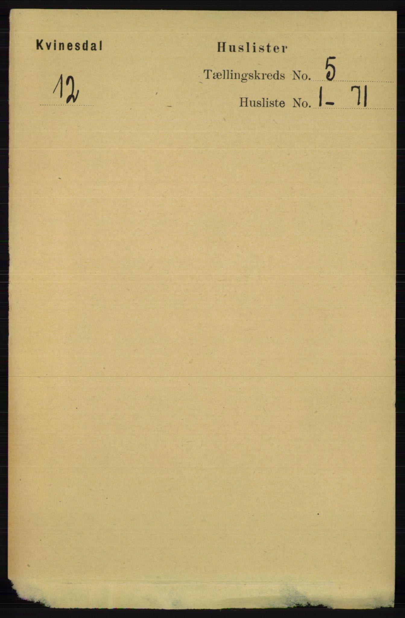 RA, Folketelling 1891 for 1037 Kvinesdal herred, 1891, s. 1623