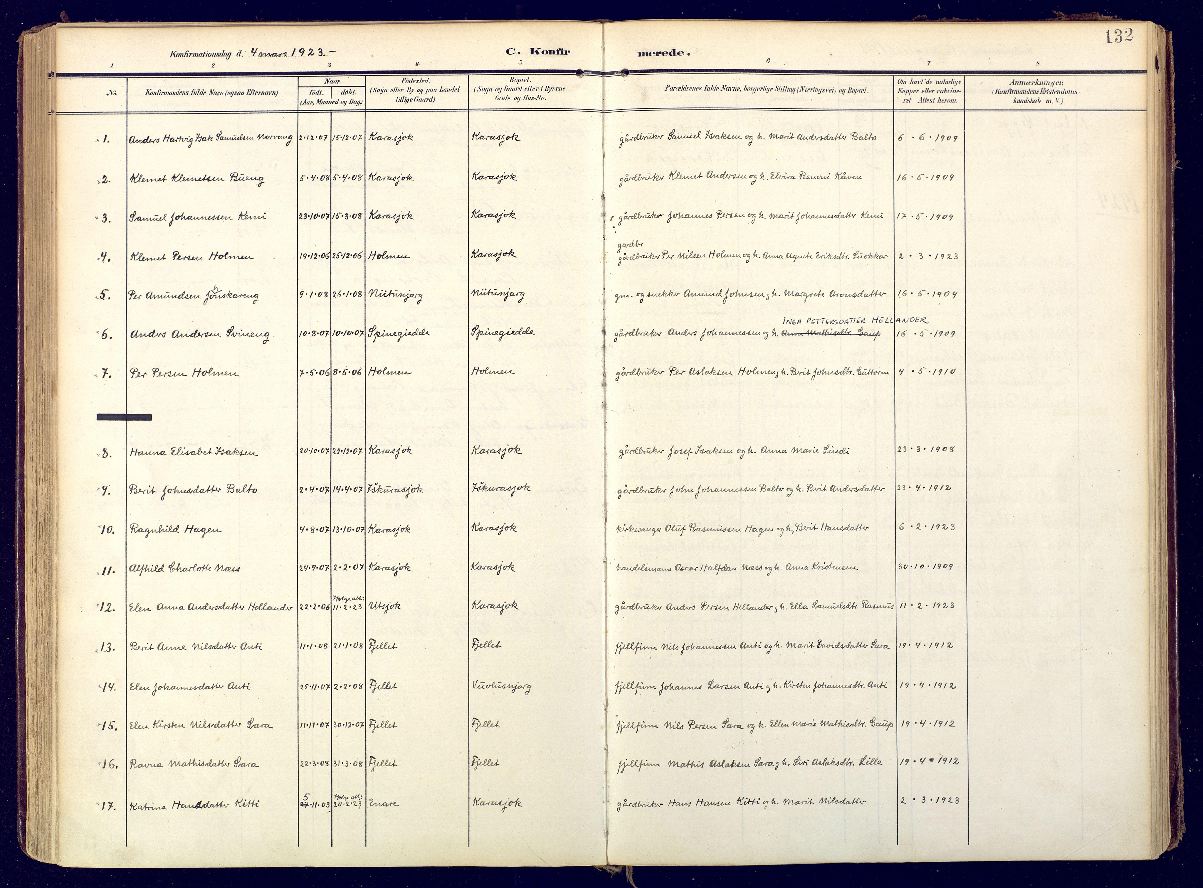 SATØ, Karasjok sokneprestkontor, H/Ha: Ministerialbok nr. 3, 1907-1926, s. 132