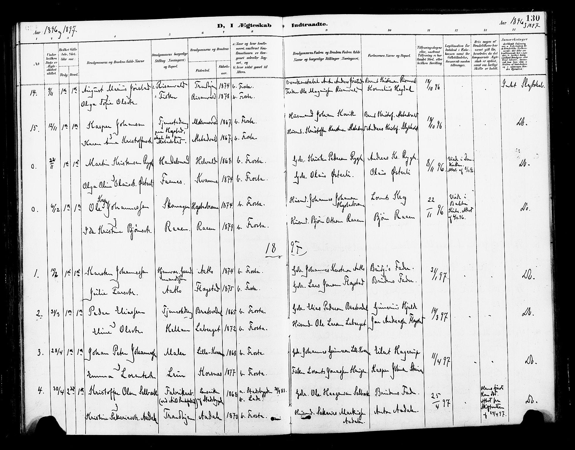 SAT, Ministerialprotokoller, klokkerbøker og fødselsregistre - Nord-Trøndelag, 713/L0121: Ministerialbok nr. 713A10, 1888-1898, s. 130