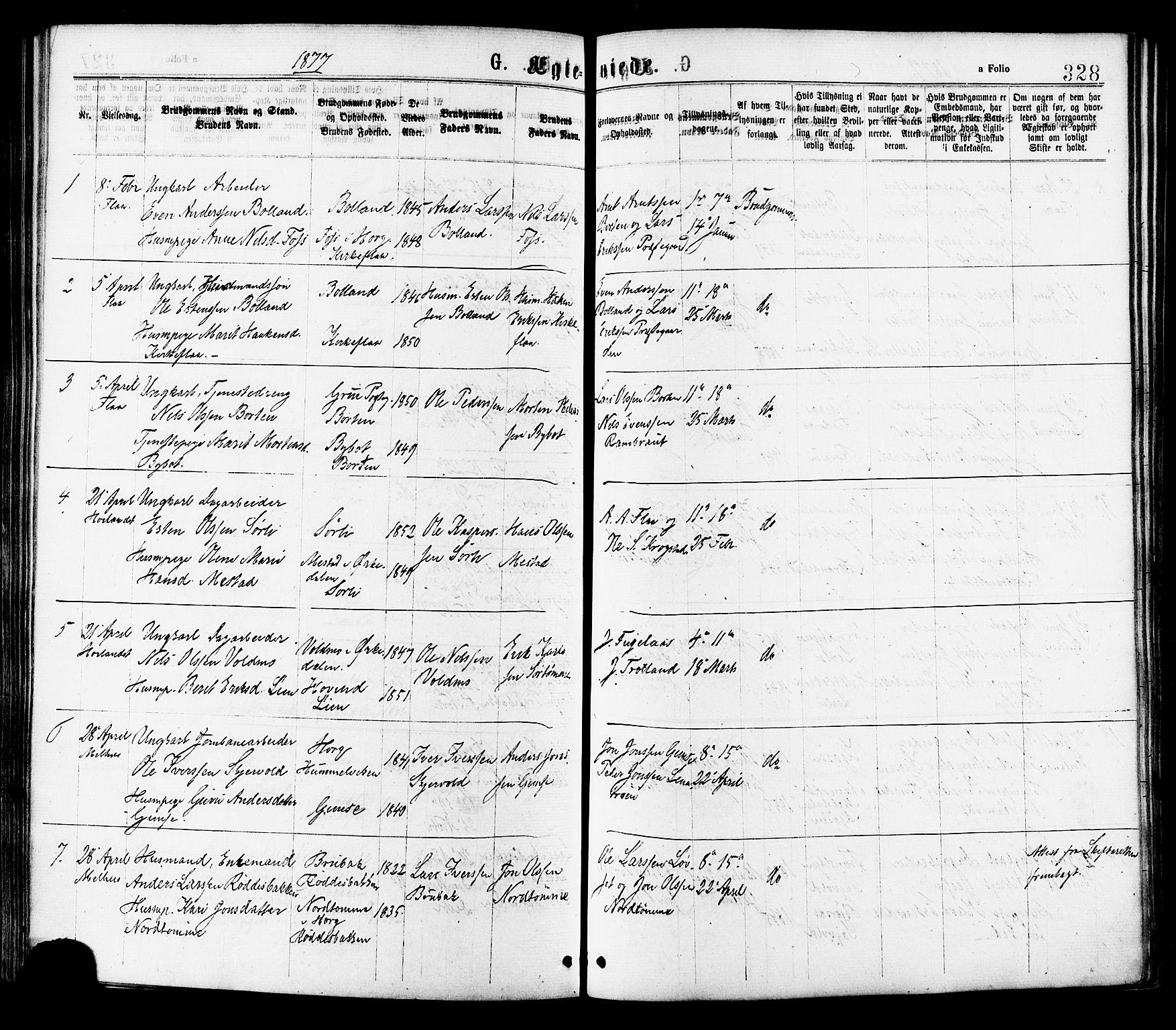 SAT, Ministerialprotokoller, klokkerbøker og fødselsregistre - Sør-Trøndelag, 691/L1079: Ministerialbok nr. 691A11, 1873-1886, s. 328