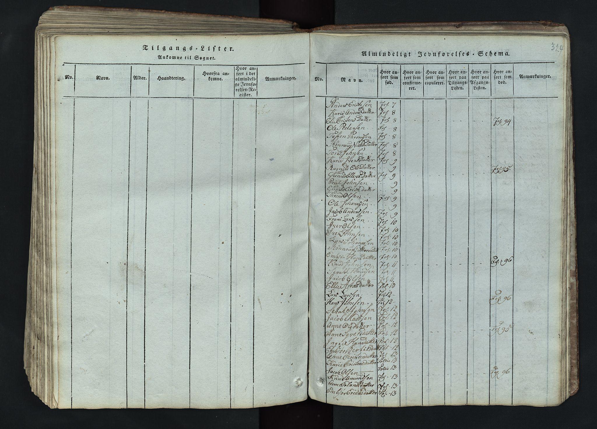 SAH, Lom prestekontor, L/L0002: Klokkerbok nr. 2, 1815-1844, s. 324