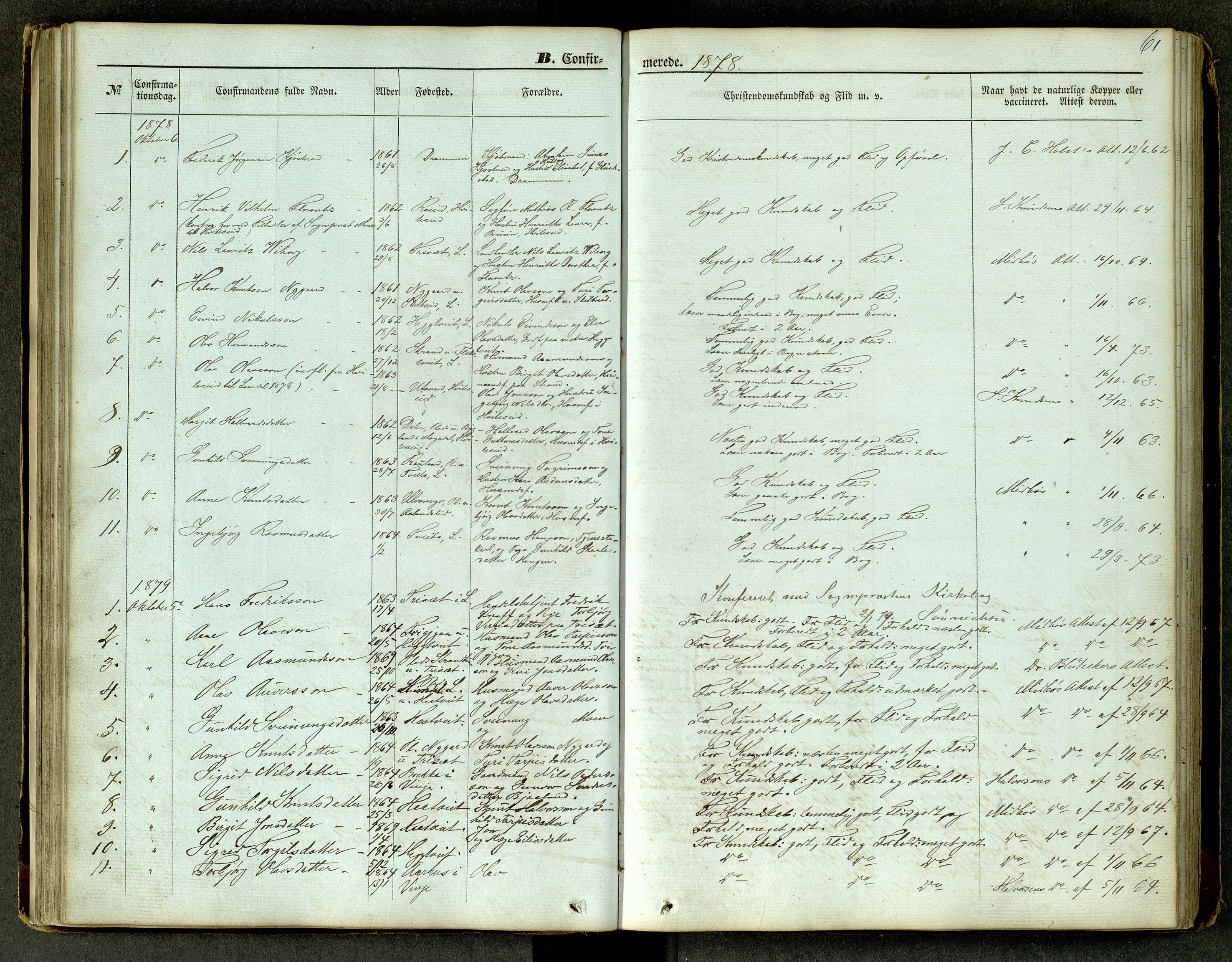 SAKO, Lårdal kirkebøker, G/Ga/L0002: Klokkerbok nr. I 2, 1861-1890, s. 61