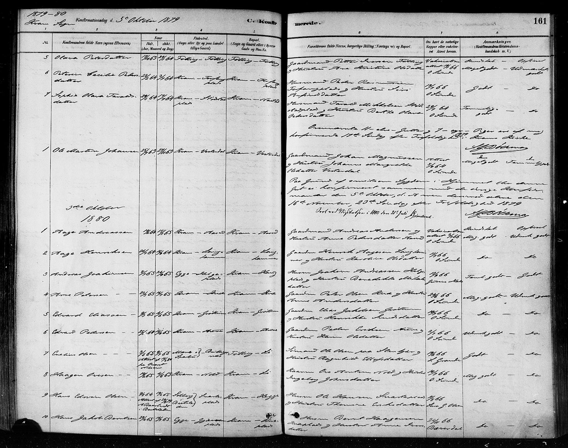SAT, Ministerialprotokoller, klokkerbøker og fødselsregistre - Nord-Trøndelag, 746/L0449: Ministerialbok nr. 746A07 /2, 1878-1899, s. 161