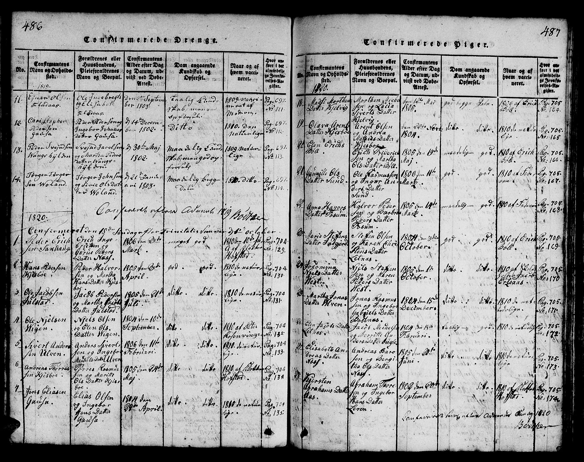 SAT, Ministerialprotokoller, klokkerbøker og fødselsregistre - Nord-Trøndelag, 730/L0298: Klokkerbok nr. 730C01, 1816-1849, s. 486-487