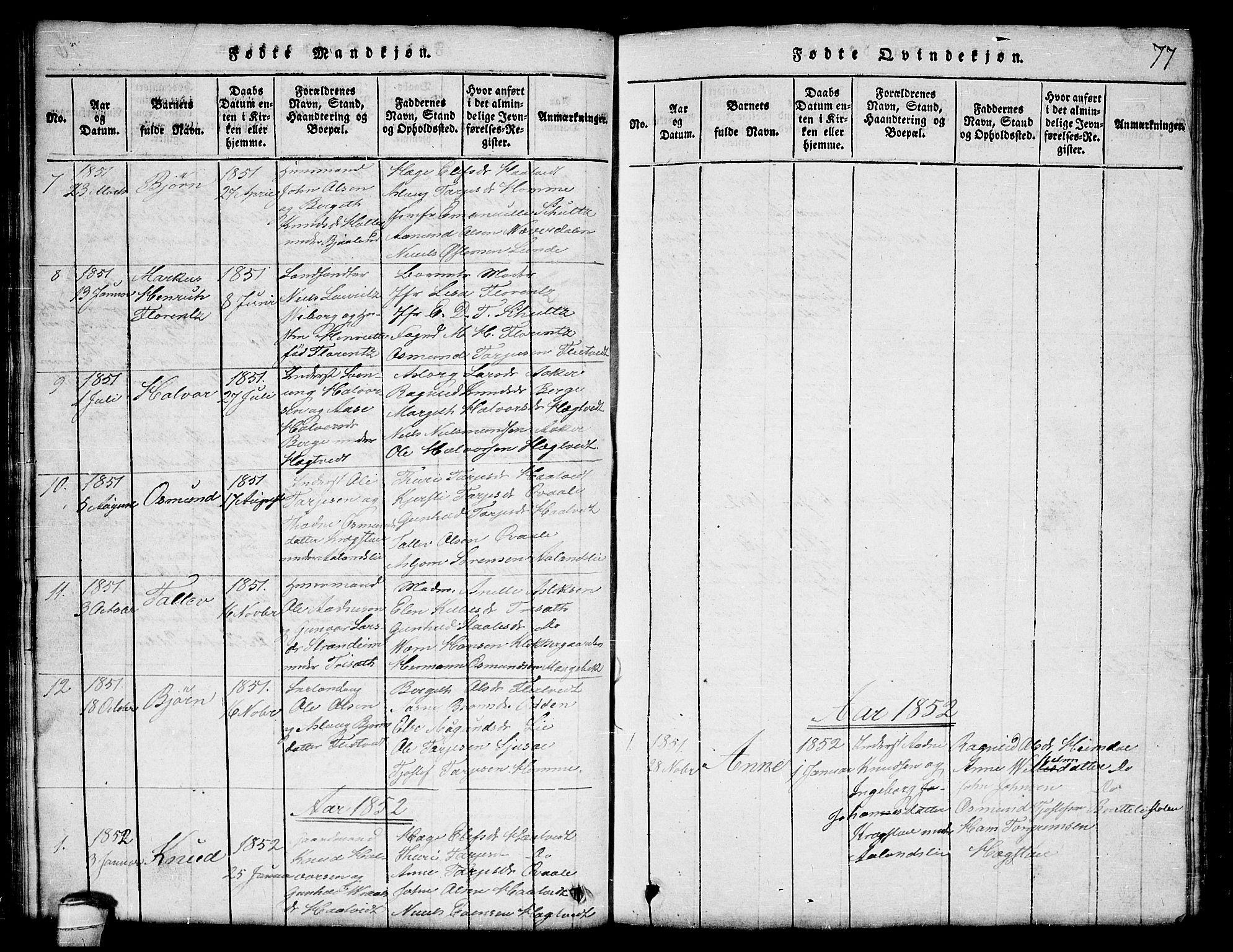 SAKO, Lårdal kirkebøker, G/Ga/L0001: Klokkerbok nr. I 1, 1815-1861, s. 77