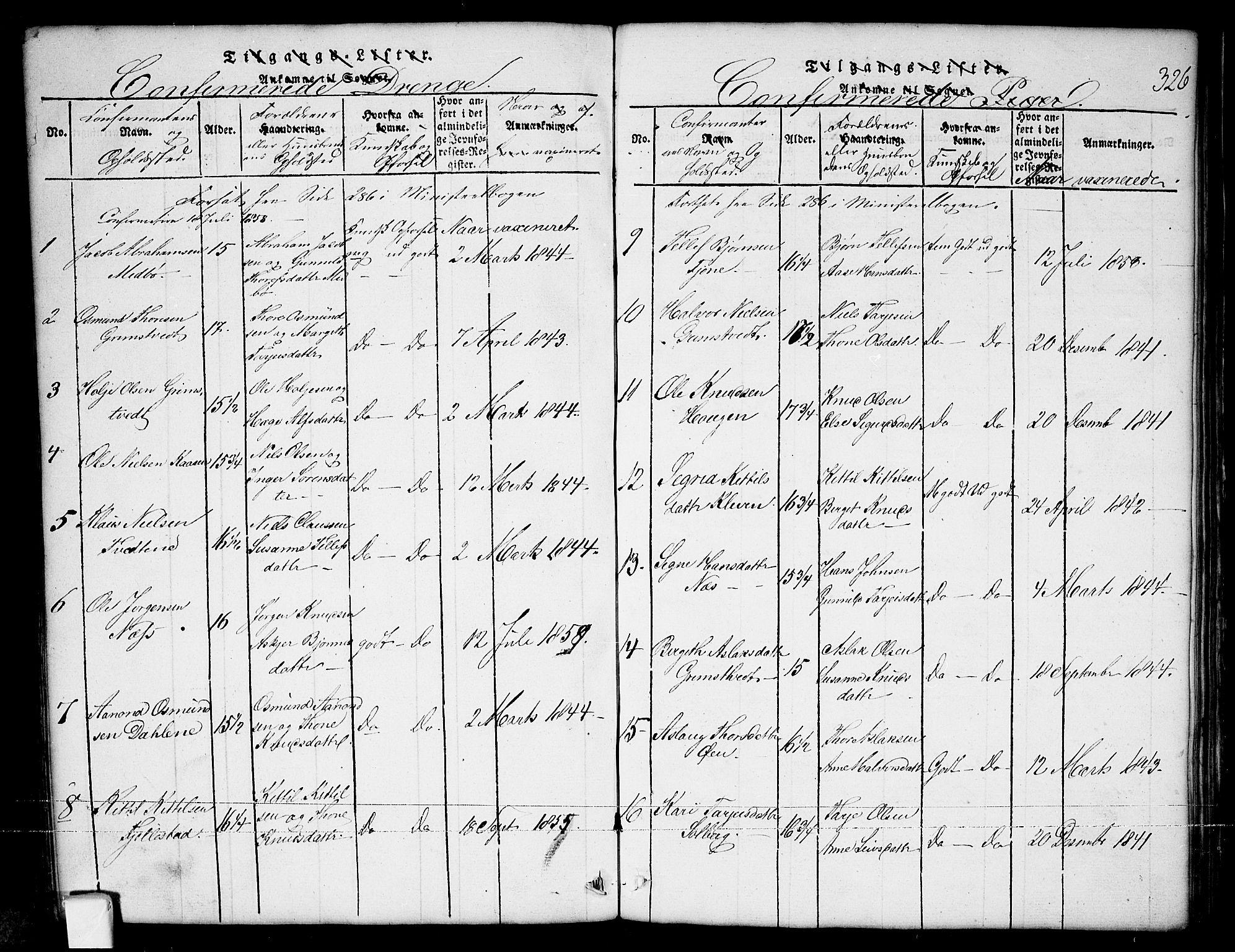 SAKO, Nissedal kirkebøker, G/Ga/L0001: Klokkerbok nr. I 1, 1814-1860, s. 326