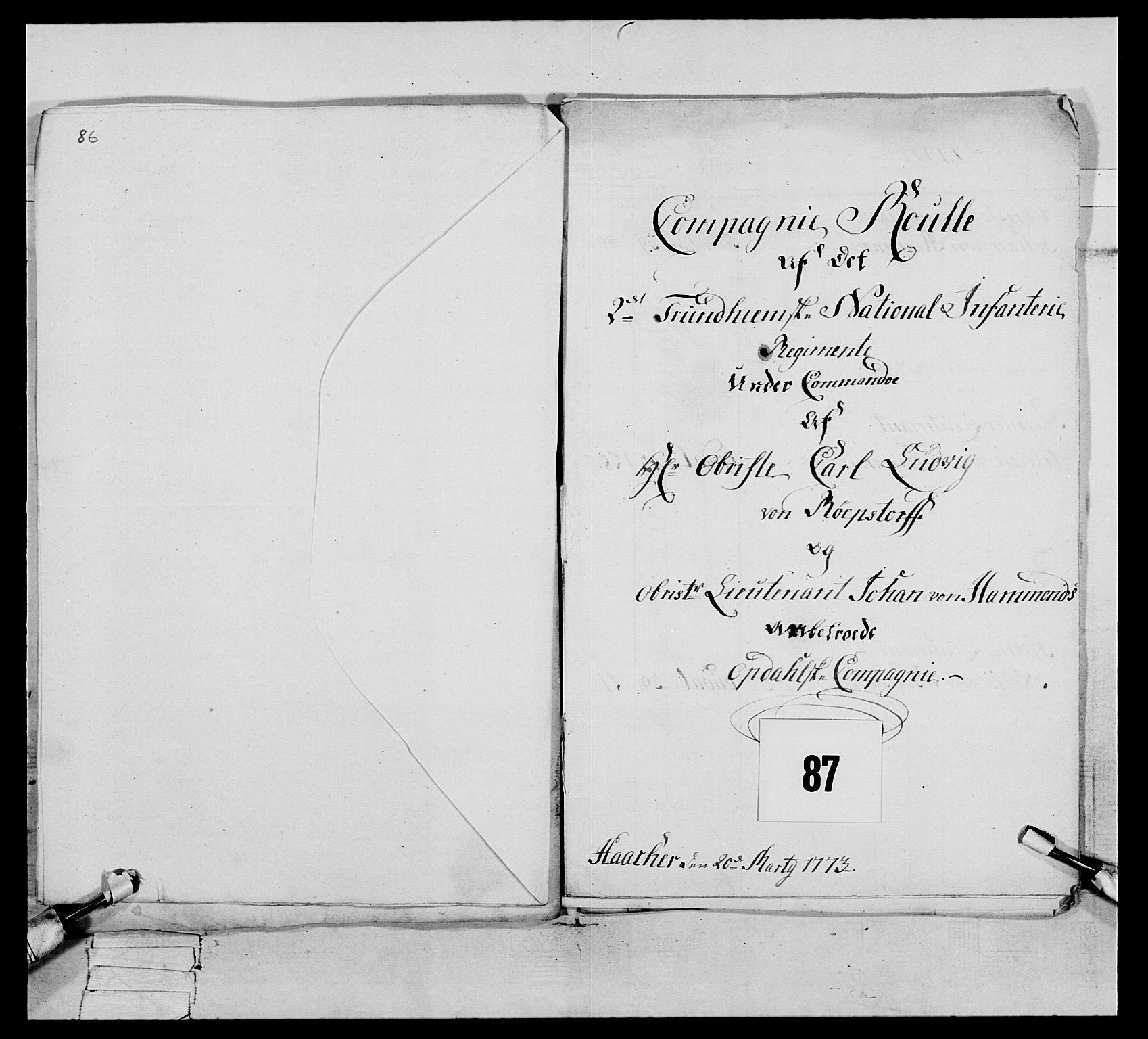 RA, Generalitets- og kommissariatskollegiet, Det kongelige norske kommissariatskollegium, E/Eh/L0076: 2. Trondheimske nasjonale infanteriregiment, 1766-1773, s. 494