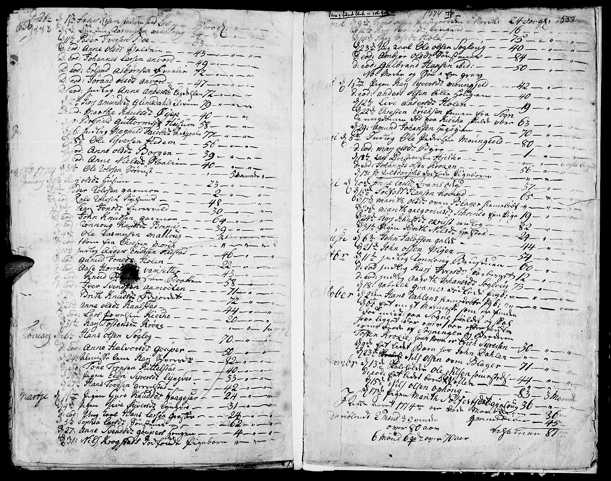 SAH, Lom prestekontor, K/L0002: Ministerialbok nr. 2, 1749-1801, s. 556-557