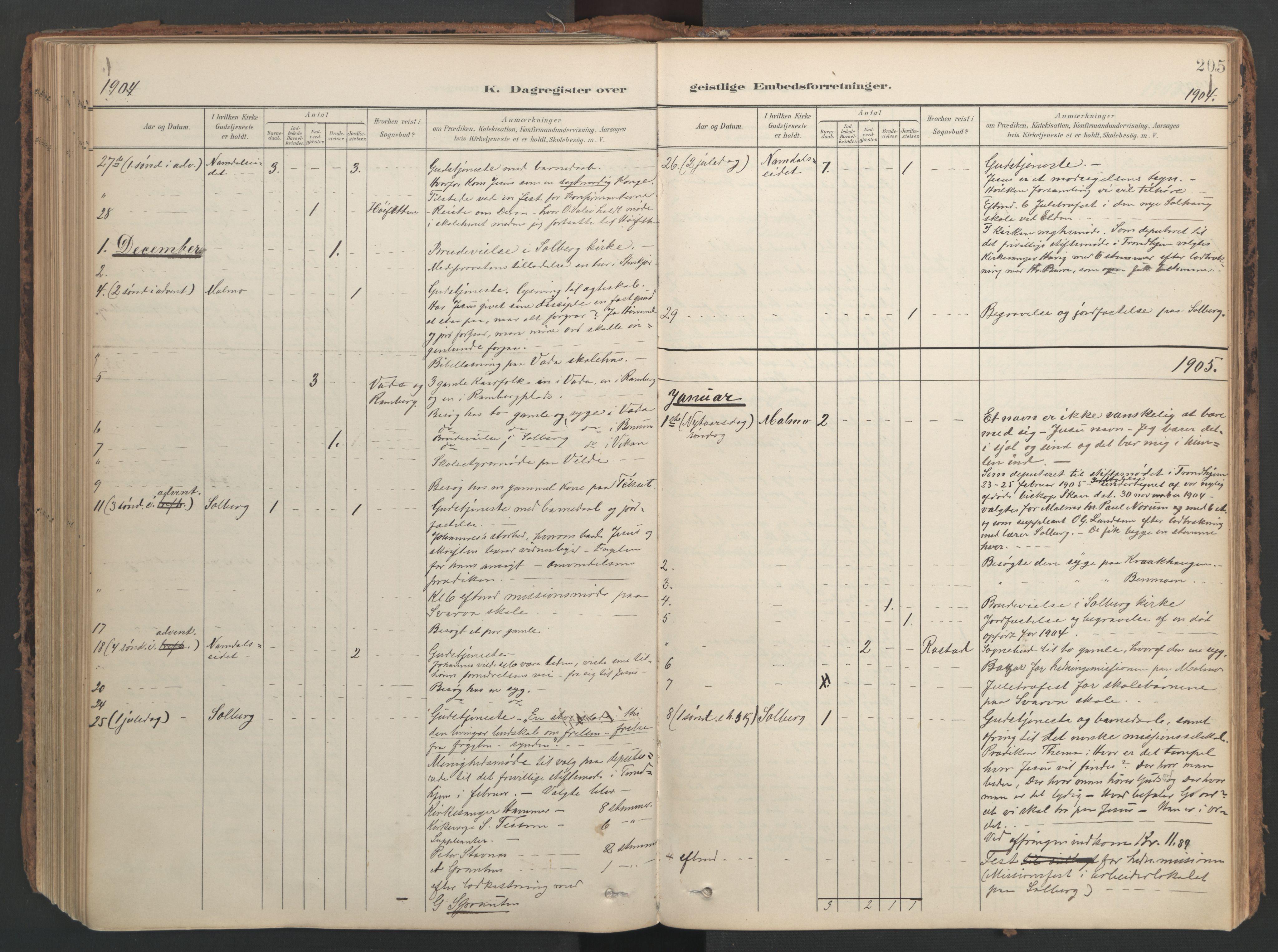SAT, Ministerialprotokoller, klokkerbøker og fødselsregistre - Nord-Trøndelag, 741/L0397: Ministerialbok nr. 741A11, 1901-1911, s. 205