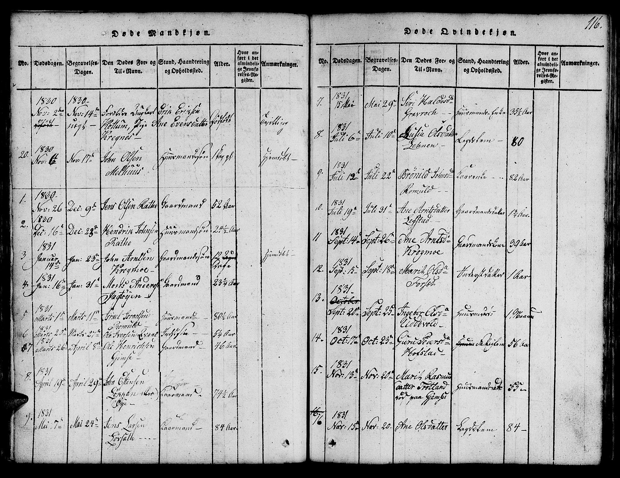 SAT, Ministerialprotokoller, klokkerbøker og fødselsregistre - Sør-Trøndelag, 691/L1092: Klokkerbok nr. 691C03, 1816-1852, s. 116