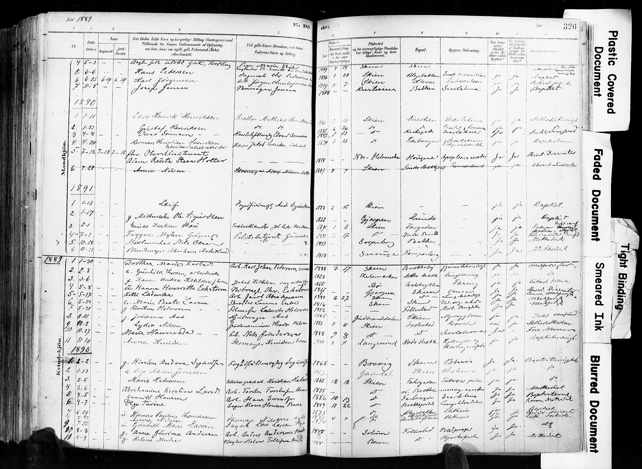 SAKO, Skien kirkebøker, F/Fa/L0009: Ministerialbok nr. 9, 1878-1890, s. 326