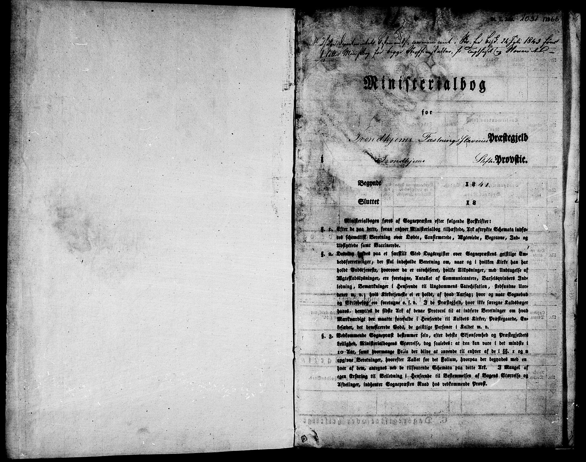 SAT, Ministerialprotokoller, klokkerbøker og fødselsregistre - Sør-Trøndelag, 624/L0481: Ministerialbok nr. 624A02, 1841-1869