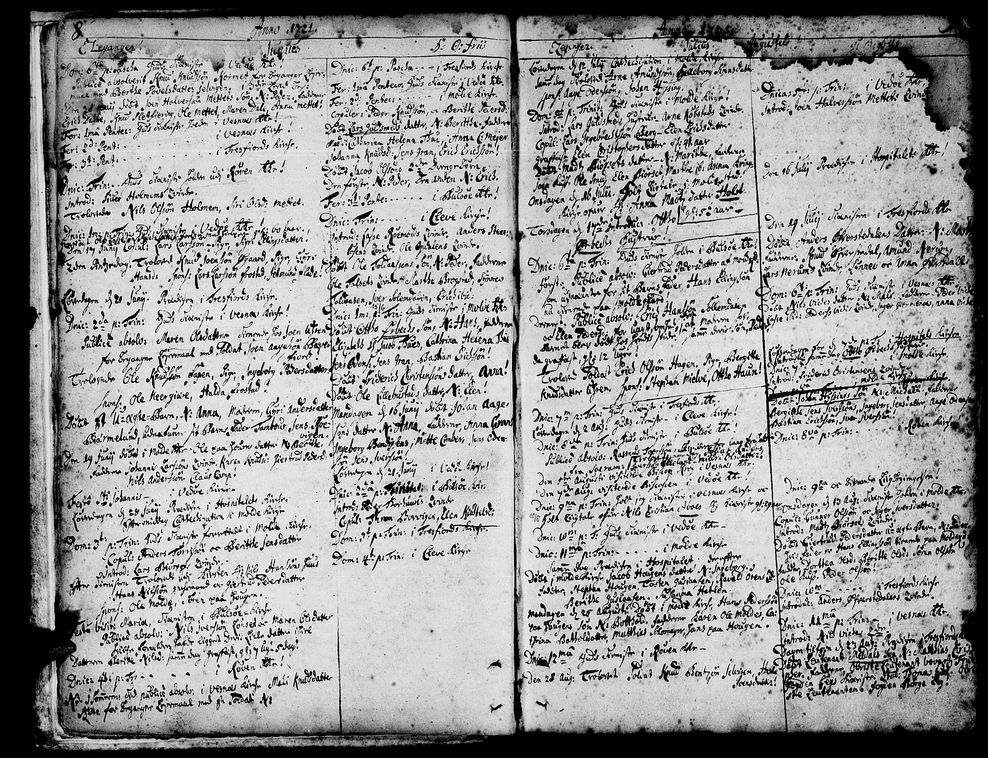 SAT, Ministerialprotokoller, klokkerbøker og fødselsregistre - Møre og Romsdal, 547/L0599: Ministerialbok nr. 547A01, 1721-1764, s. 8-9