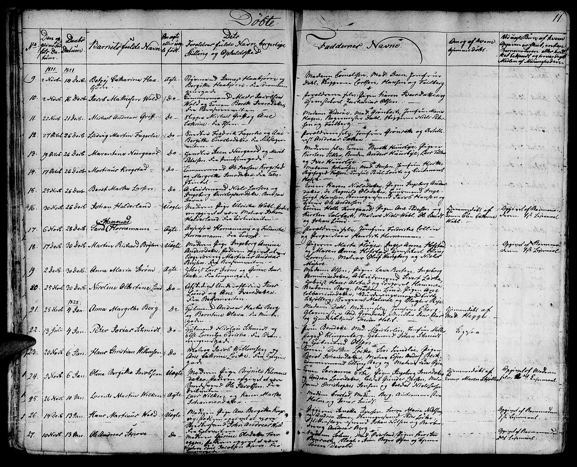 SAT, Ministerialprotokoller, klokkerbøker og fødselsregistre - Sør-Trøndelag, 601/L0045: Ministerialbok nr. 601A13, 1821-1831, s. 11