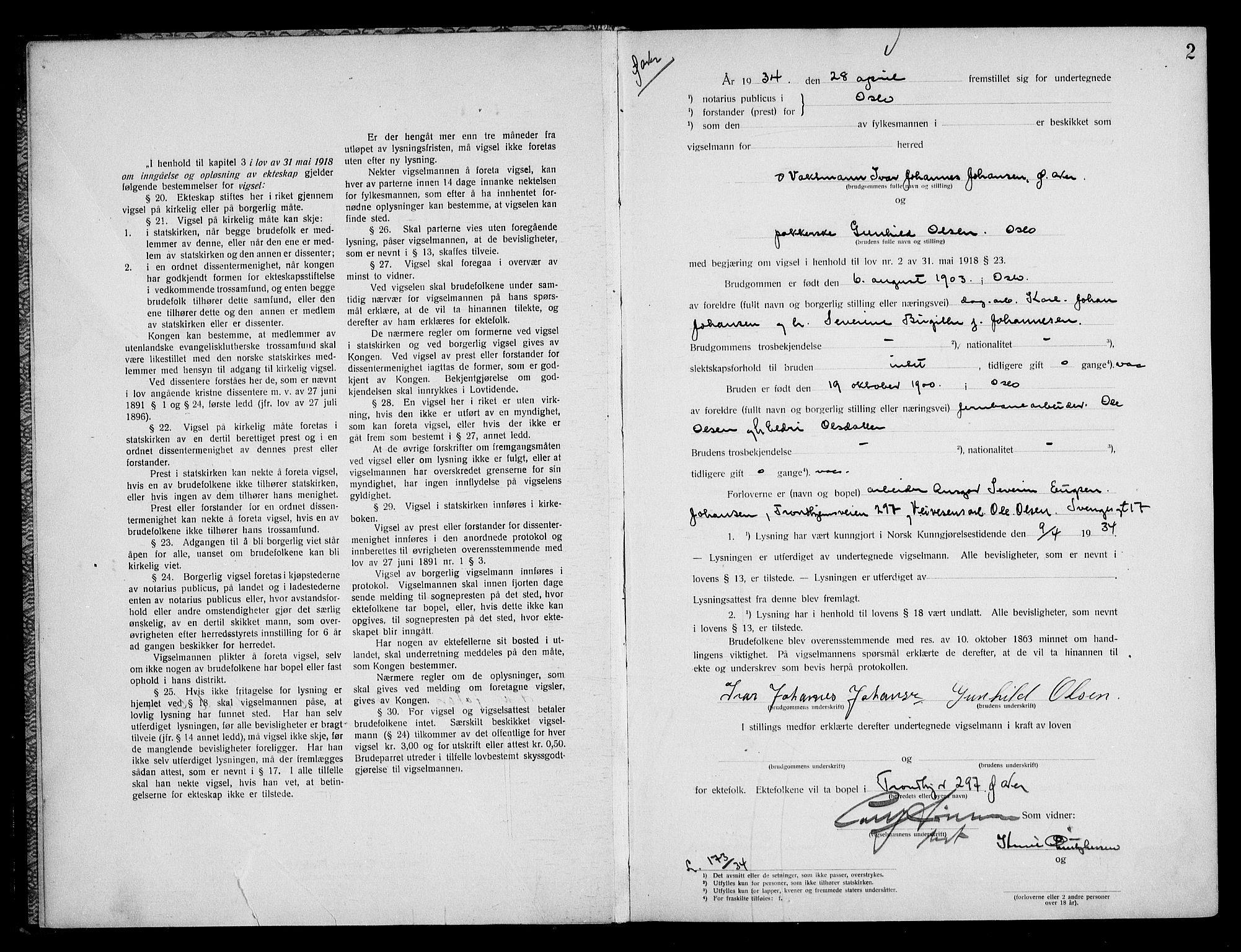 SAO, Oslo byfogd avd. I, L/Lb/Lbb/L0024: Notarialprotokoll, rekke II: Vigsler, 1934-1935, s. 1b-2a