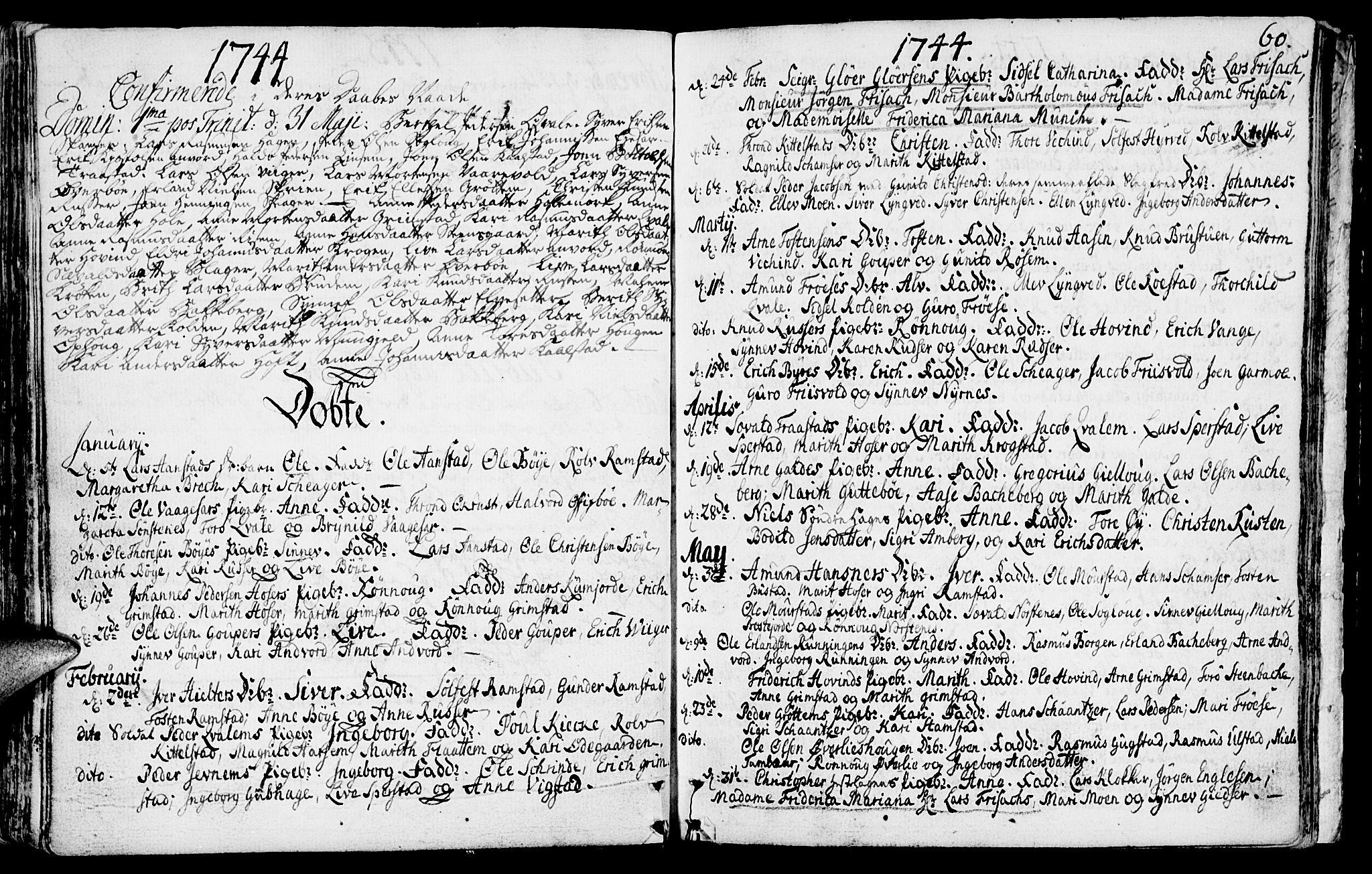 SAH, Lom prestekontor, K/L0001: Ministerialbok nr. 1, 1733-1748, s. 60