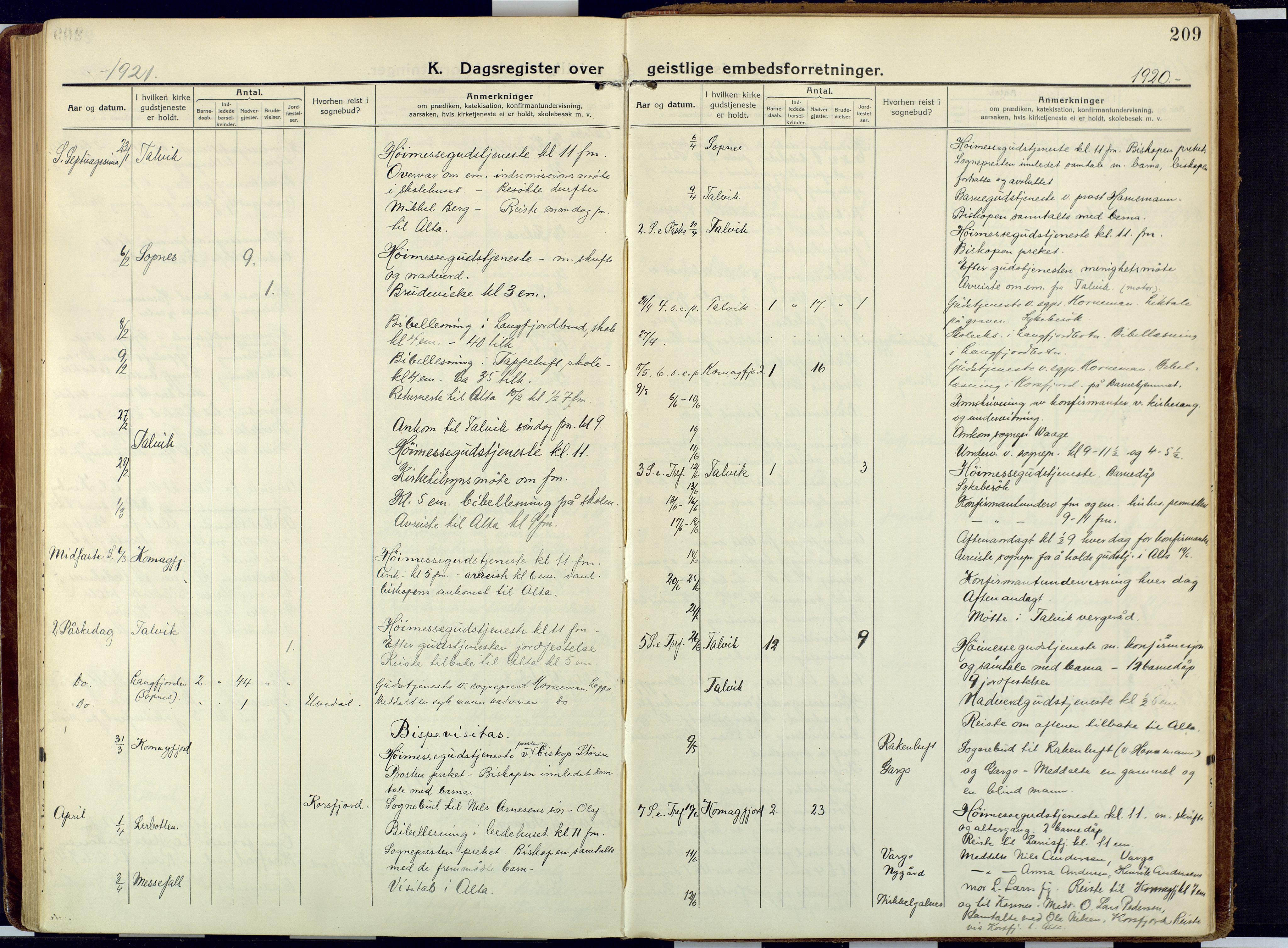 SATØ, Talvik sokneprestkontor, H/Ha/L0018kirke: Ministerialbok nr. 18, 1915-1924, s. 209