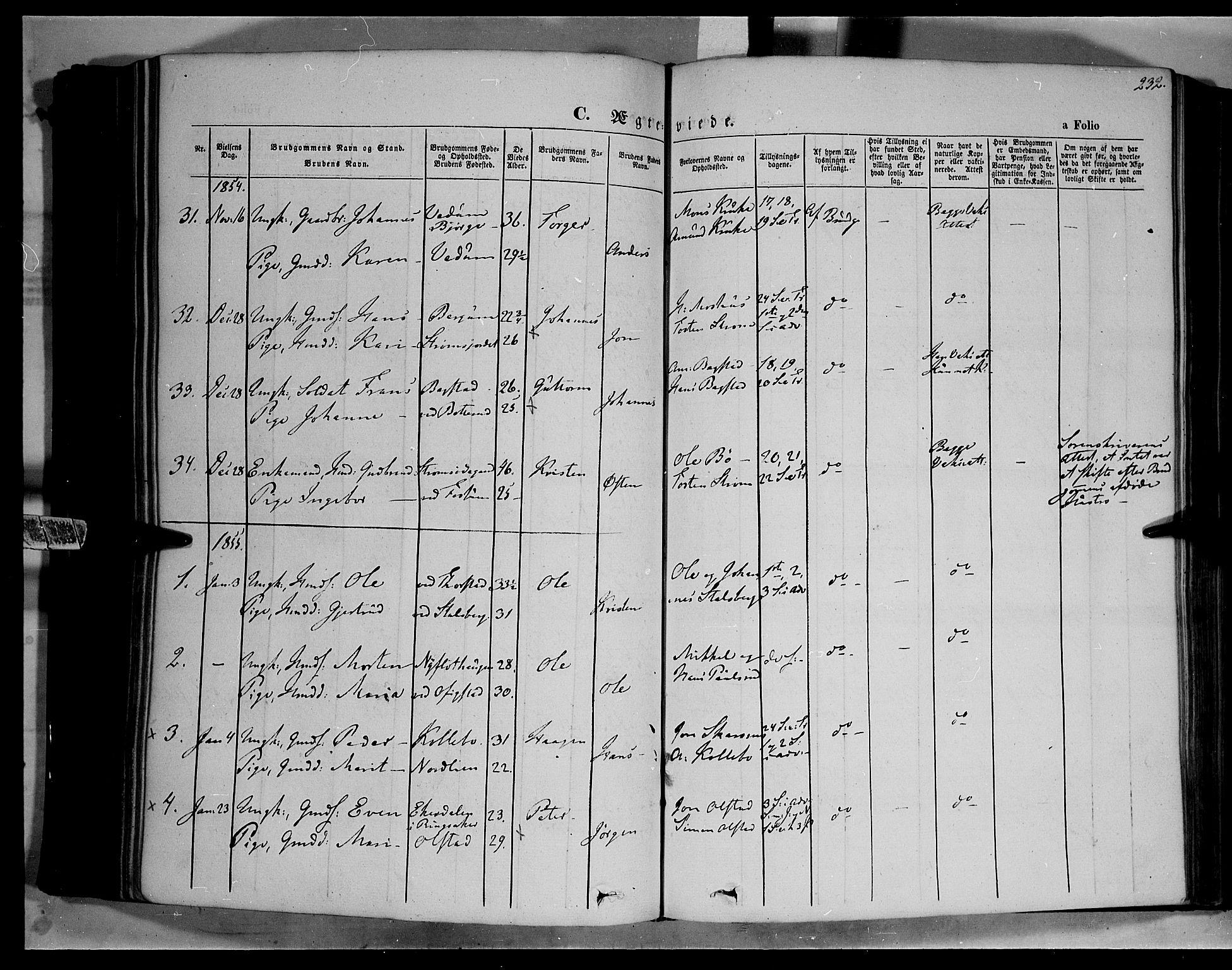 SAH, Øyer prestekontor, Ministerialbok nr. 5, 1842-1857, s. 232