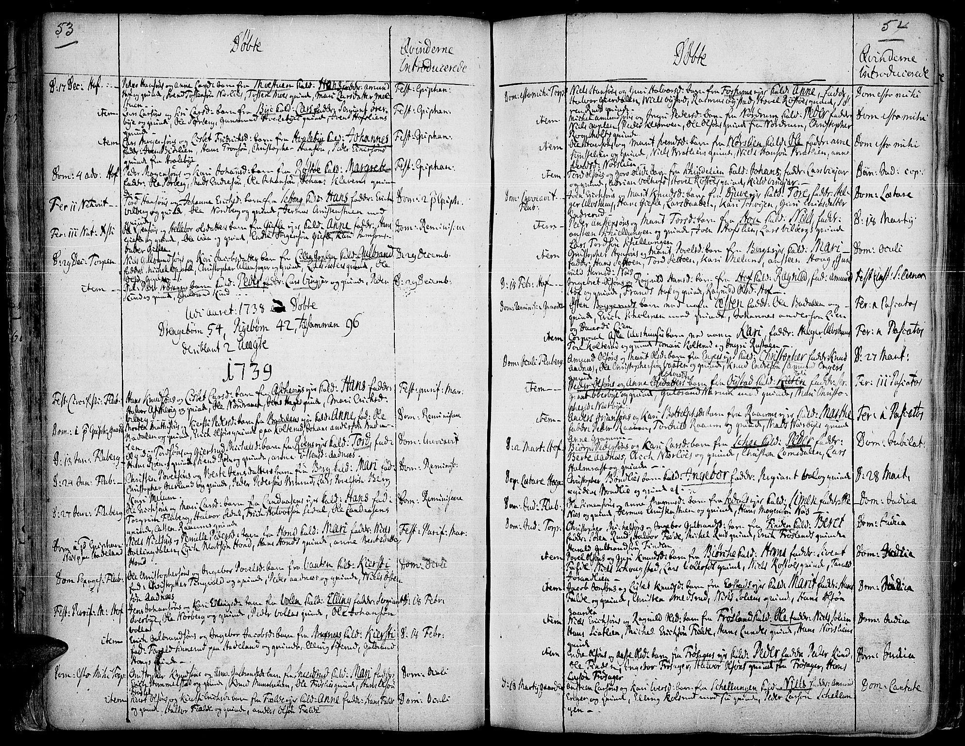SAH, Land prestekontor, Ministerialbok nr. 2, 1733-1764, s. 53-54
