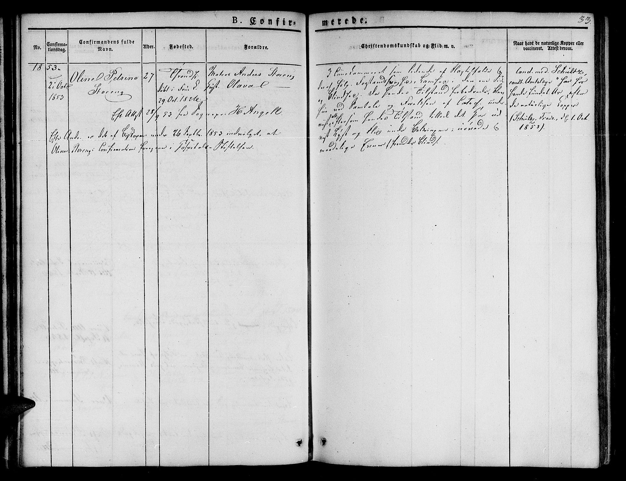 SAT, Ministerialprotokoller, klokkerbøker og fødselsregistre - Sør-Trøndelag, 623/L0468: Ministerialbok nr. 623A02, 1826-1867, s. 33