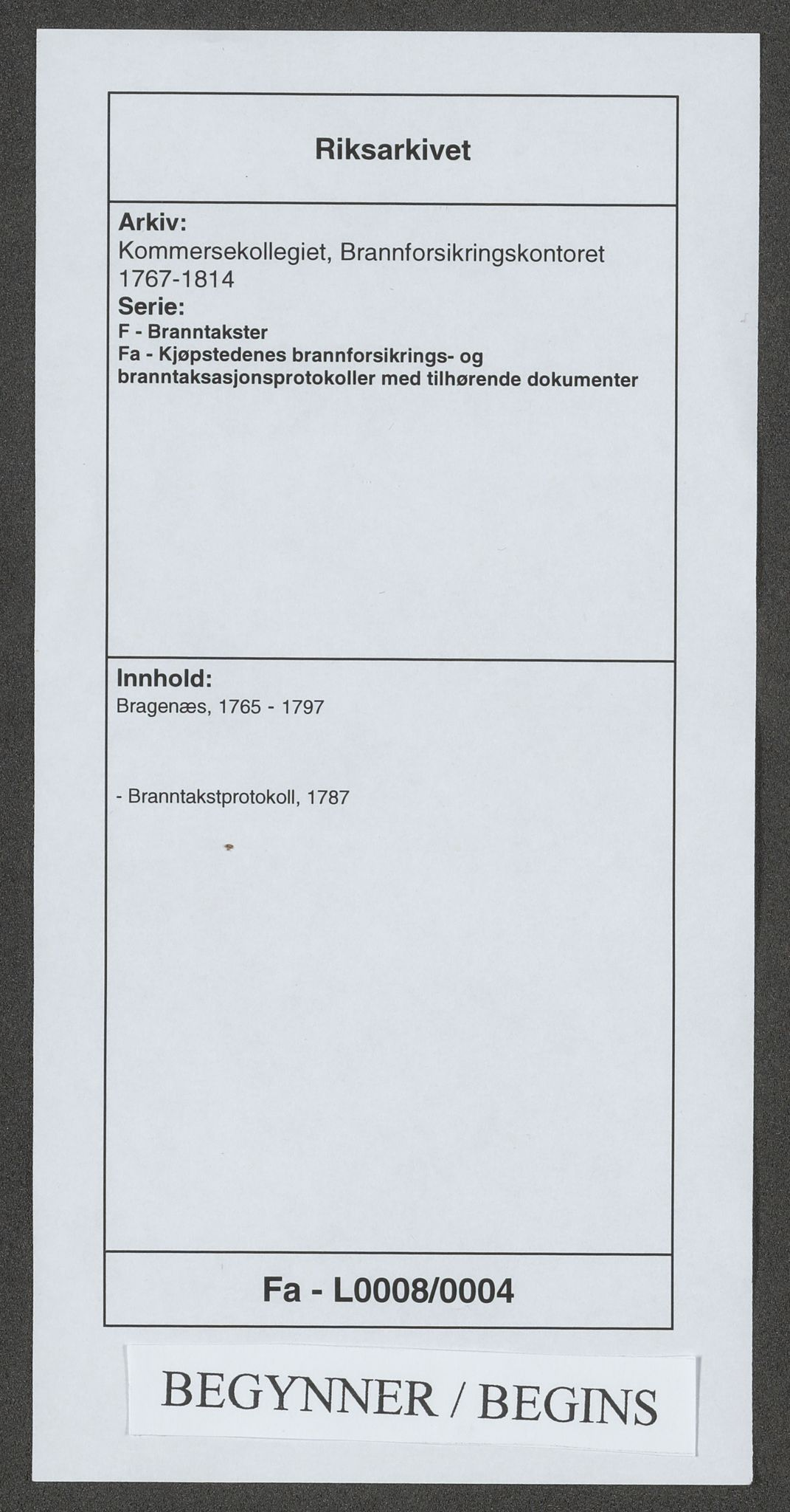 RA, Kommersekollegiet, Brannforsikringskontoret 1767-1814, F/Fa/L0008: Bragernes, 1787