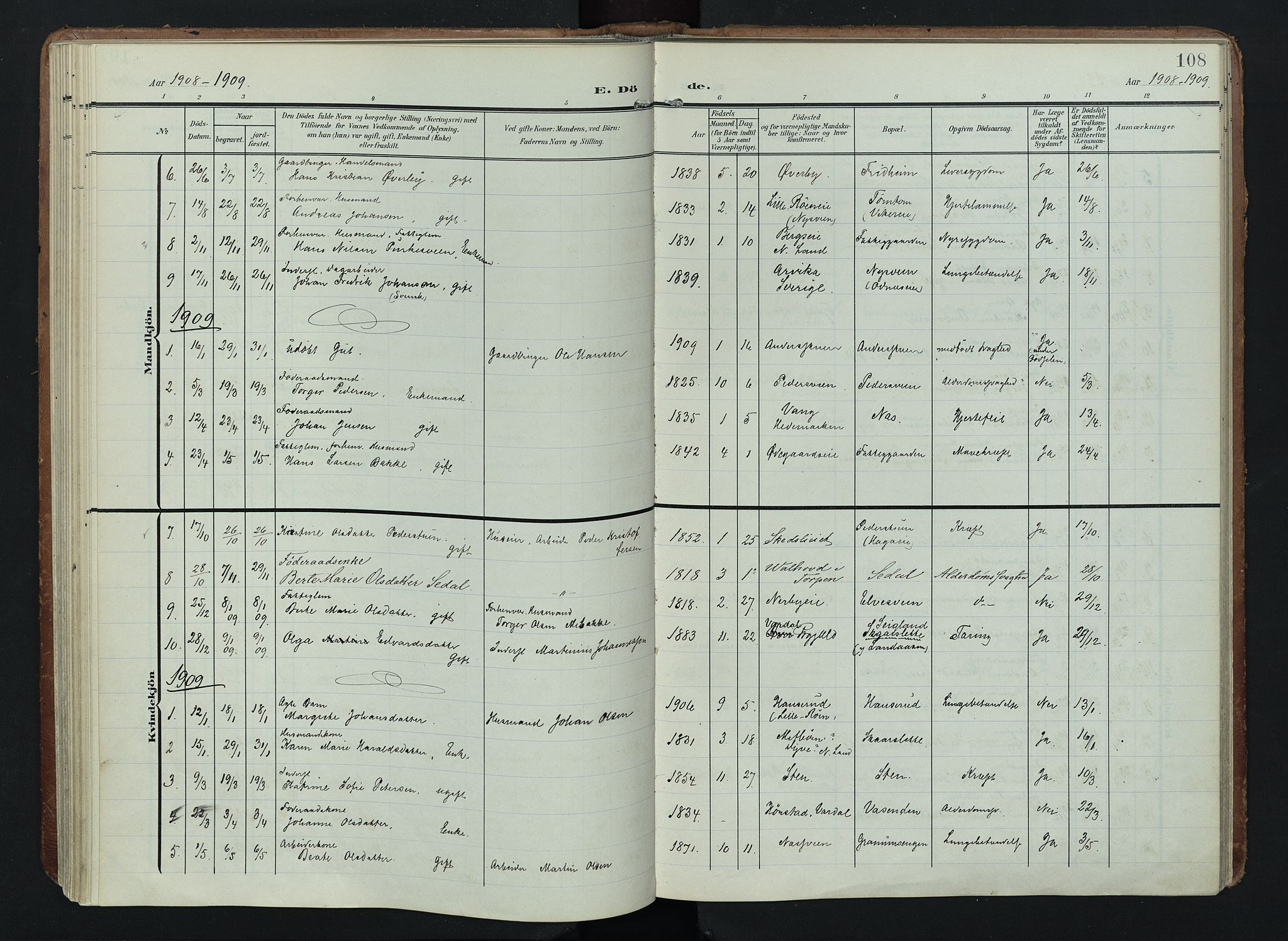 SAH, Søndre Land prestekontor, K/L0005: Ministerialbok nr. 5, 1905-1914, s. 108