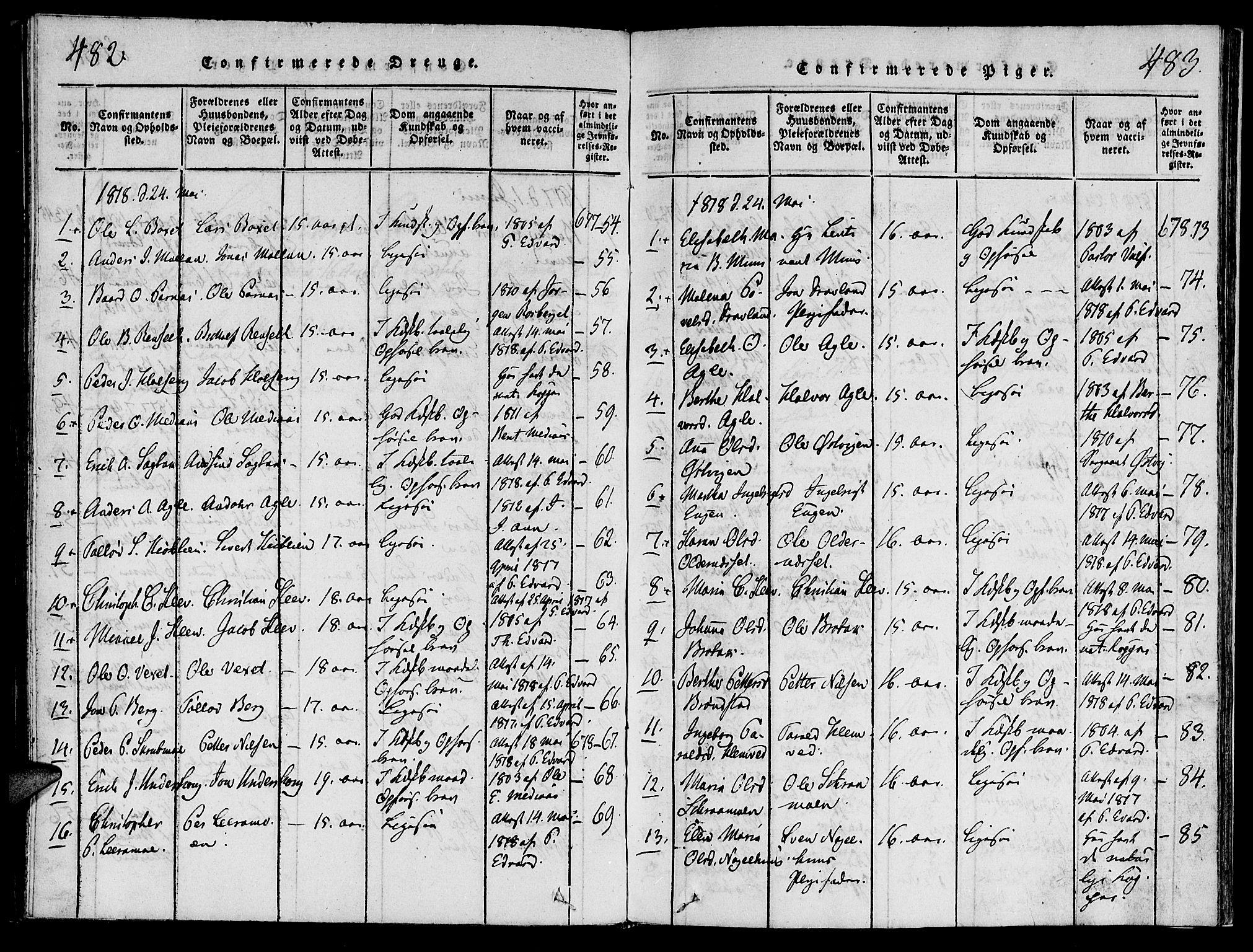 SAT, Ministerialprotokoller, klokkerbøker og fødselsregistre - Nord-Trøndelag, 749/L0479: Klokkerbok nr. 749C01, 1817-1829, s. 482-483