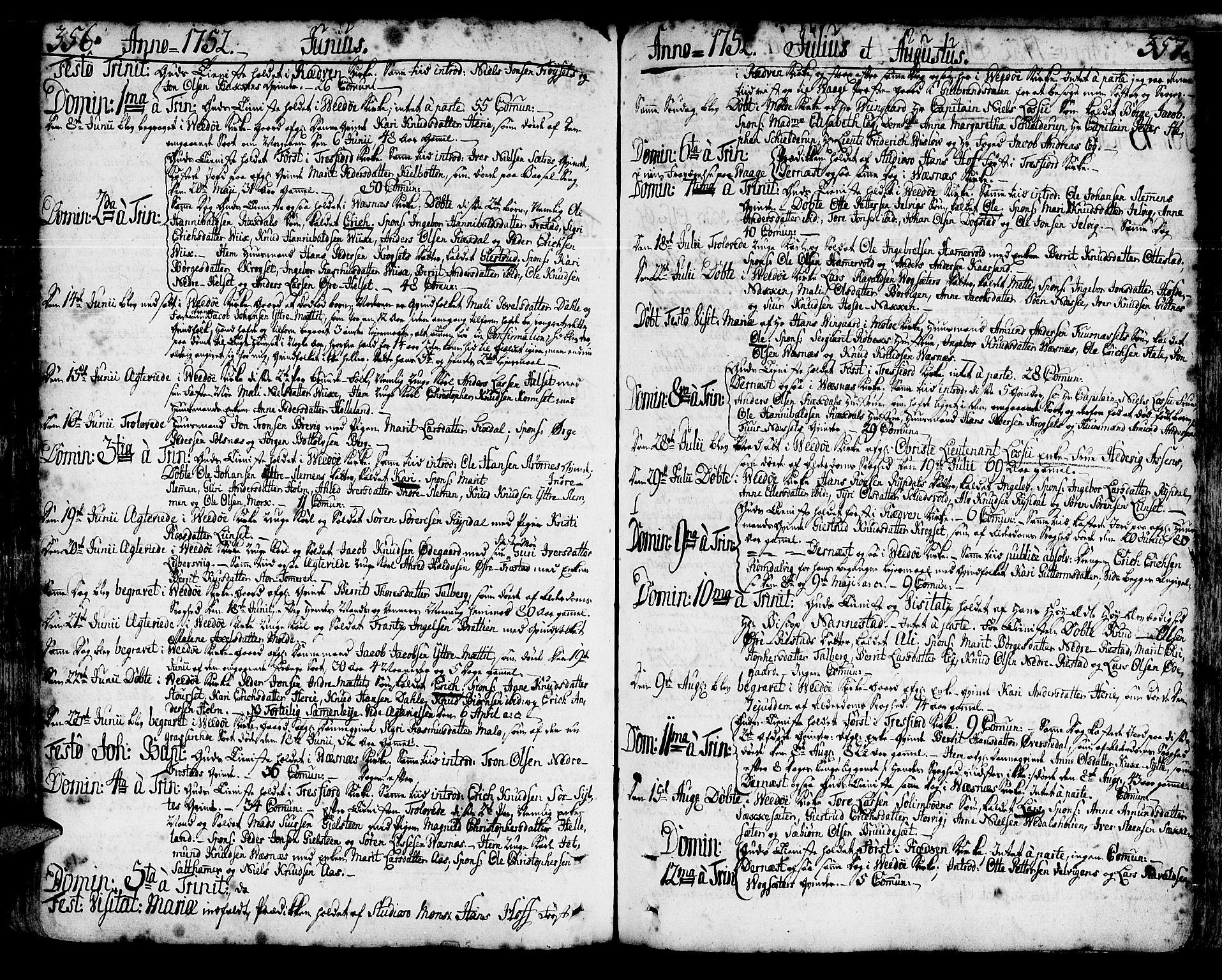 SAT, Ministerialprotokoller, klokkerbøker og fødselsregistre - Møre og Romsdal, 547/L0599: Ministerialbok nr. 547A01, 1721-1764, s. 356-357