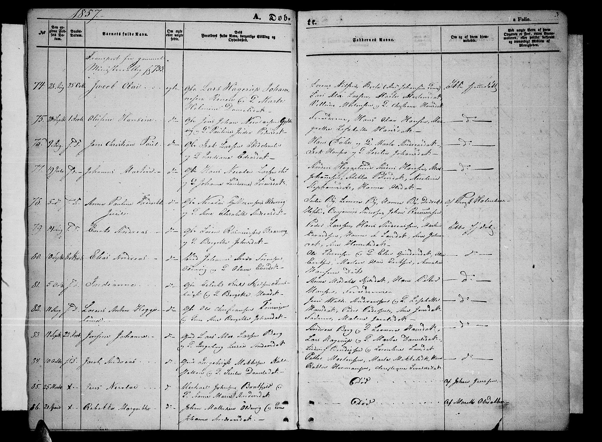 SATØ, Tromsøysund sokneprestkontor, G/Gb/L0001klokker: Klokkerbok nr. 1, 1857-1869, s. 3