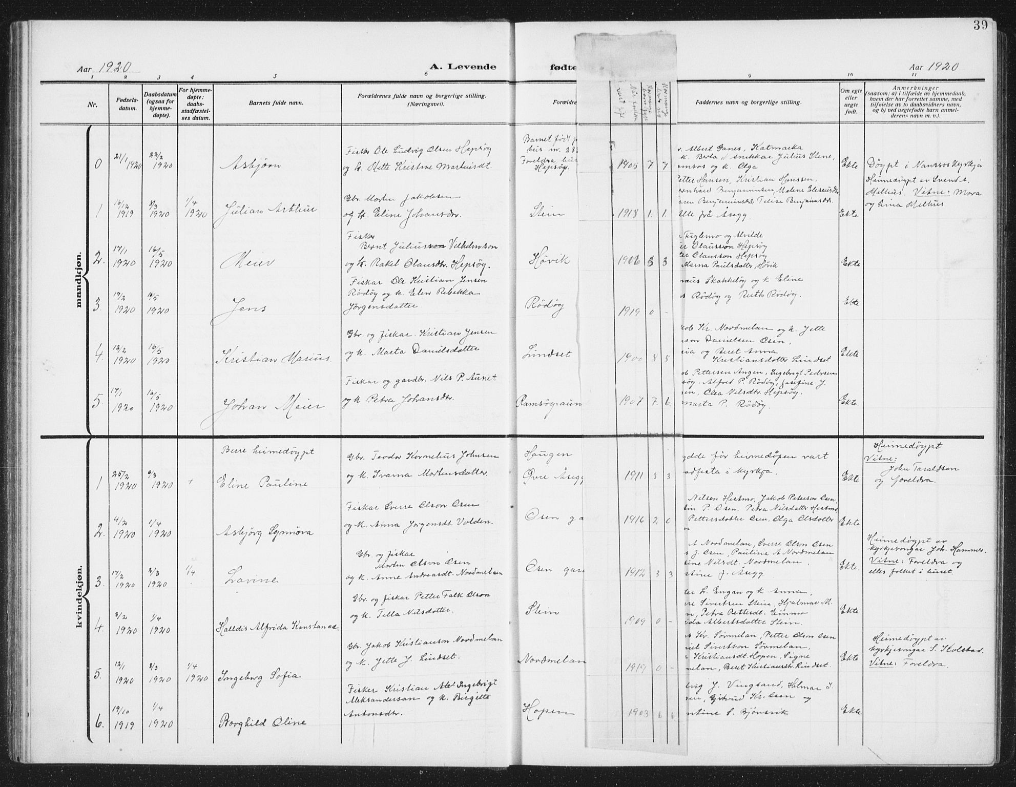 SAT, Ministerialprotokoller, klokkerbøker og fødselsregistre - Sør-Trøndelag, 658/L0727: Klokkerbok nr. 658C03, 1909-1935, s. 39