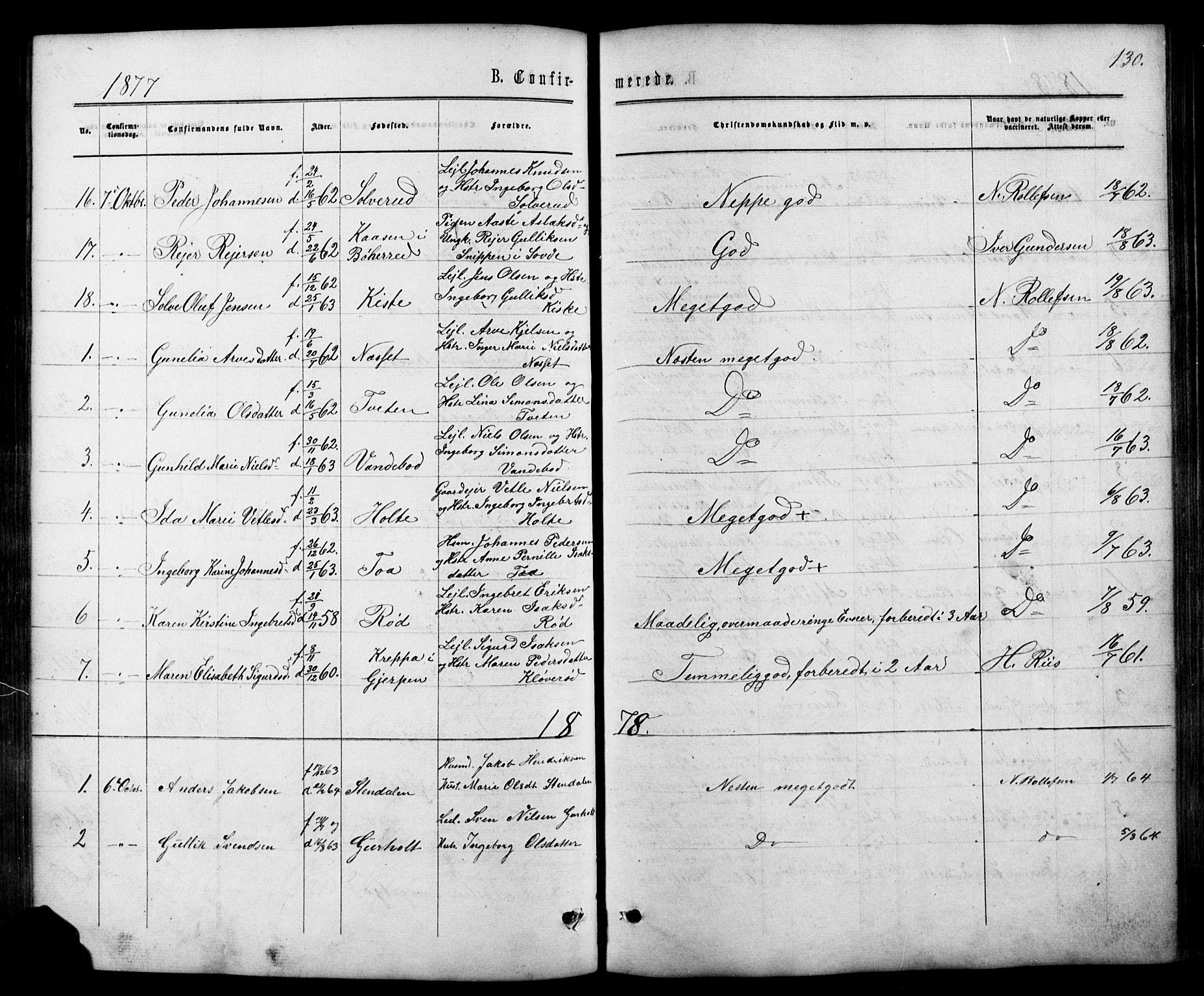SAKO, Siljan kirkebøker, G/Ga/L0002: Klokkerbok nr. 2, 1864-1908, s. 130