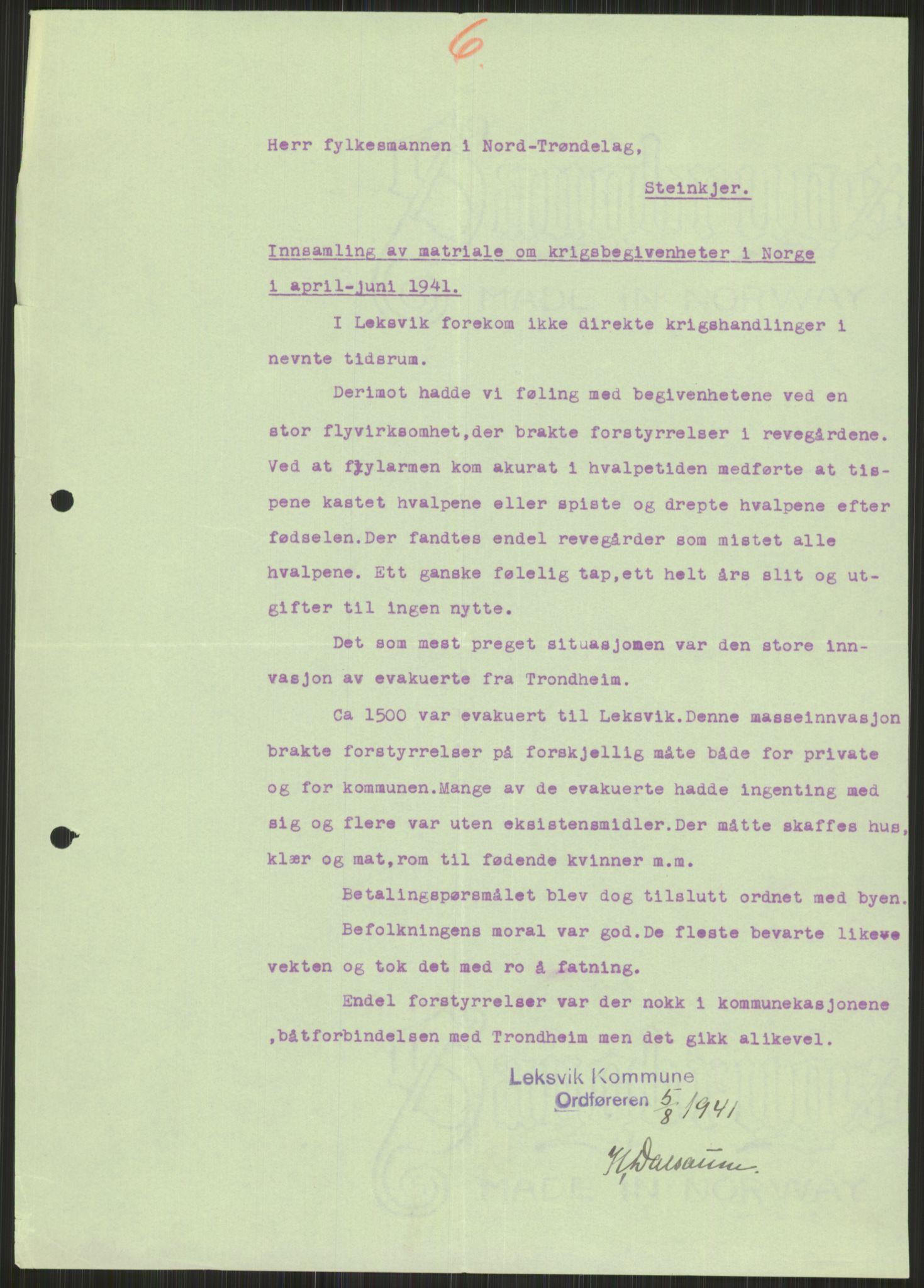 RA, Forsvaret, Forsvarets krigshistoriske avdeling, Y/Ya/L0016: II-C-11-31 - Fylkesmenn.  Rapporter om krigsbegivenhetene 1940., 1940, s. 495