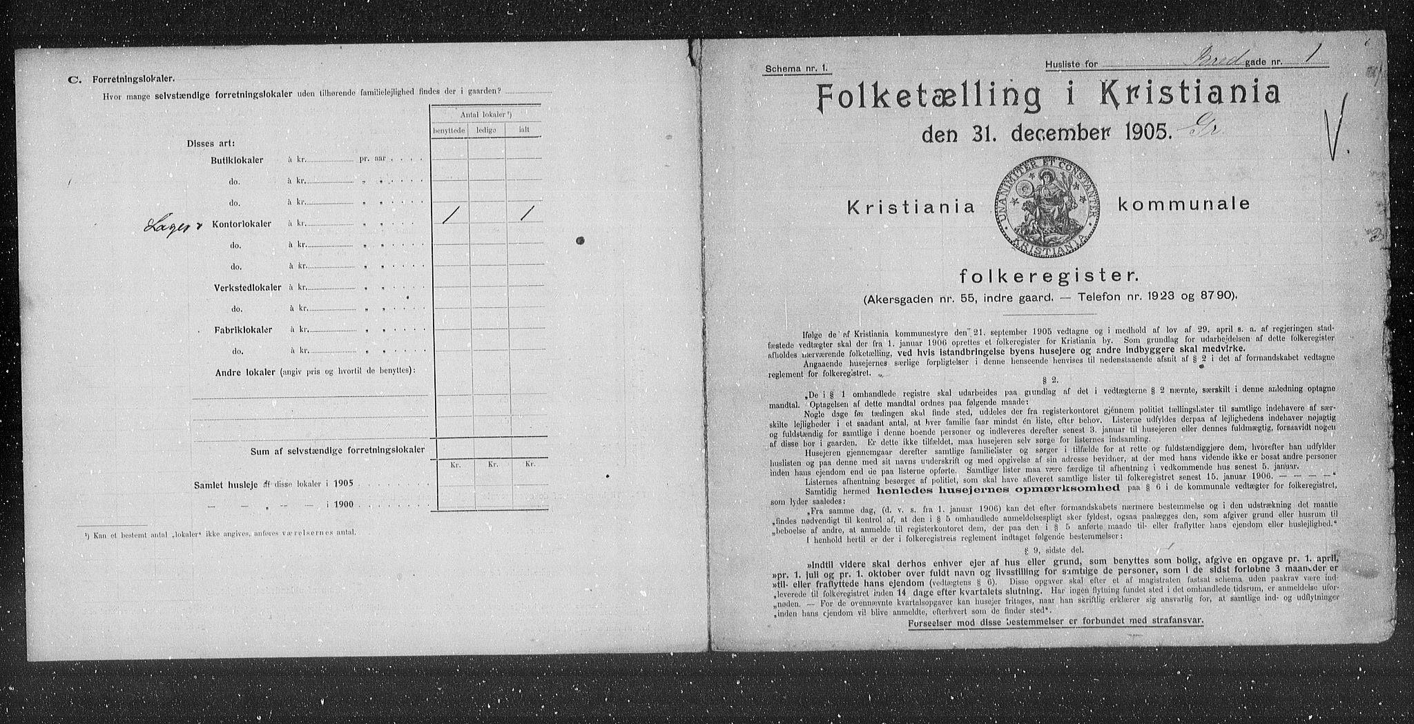 OBA, Kommunal folketelling 1905 for Kristiania kjøpstad, 1905, s. 4108