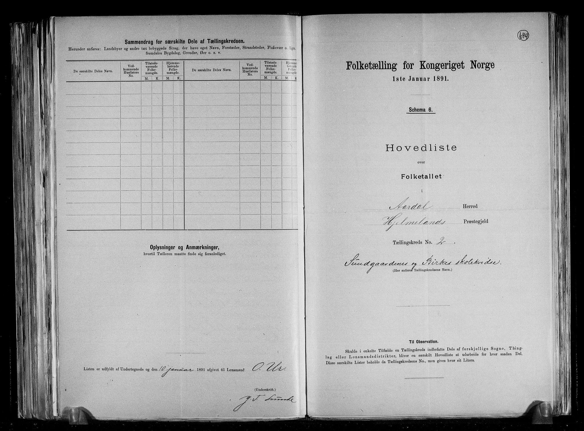 RA, Folketelling 1891 for 1131 Årdal herred, 1891, s. 6