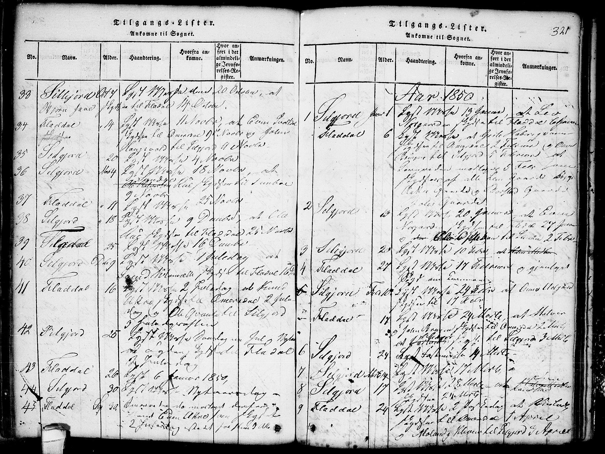 SAKO, Seljord kirkebøker, G/Gb/L0002: Klokkerbok nr. II 2, 1815-1854, s. 321