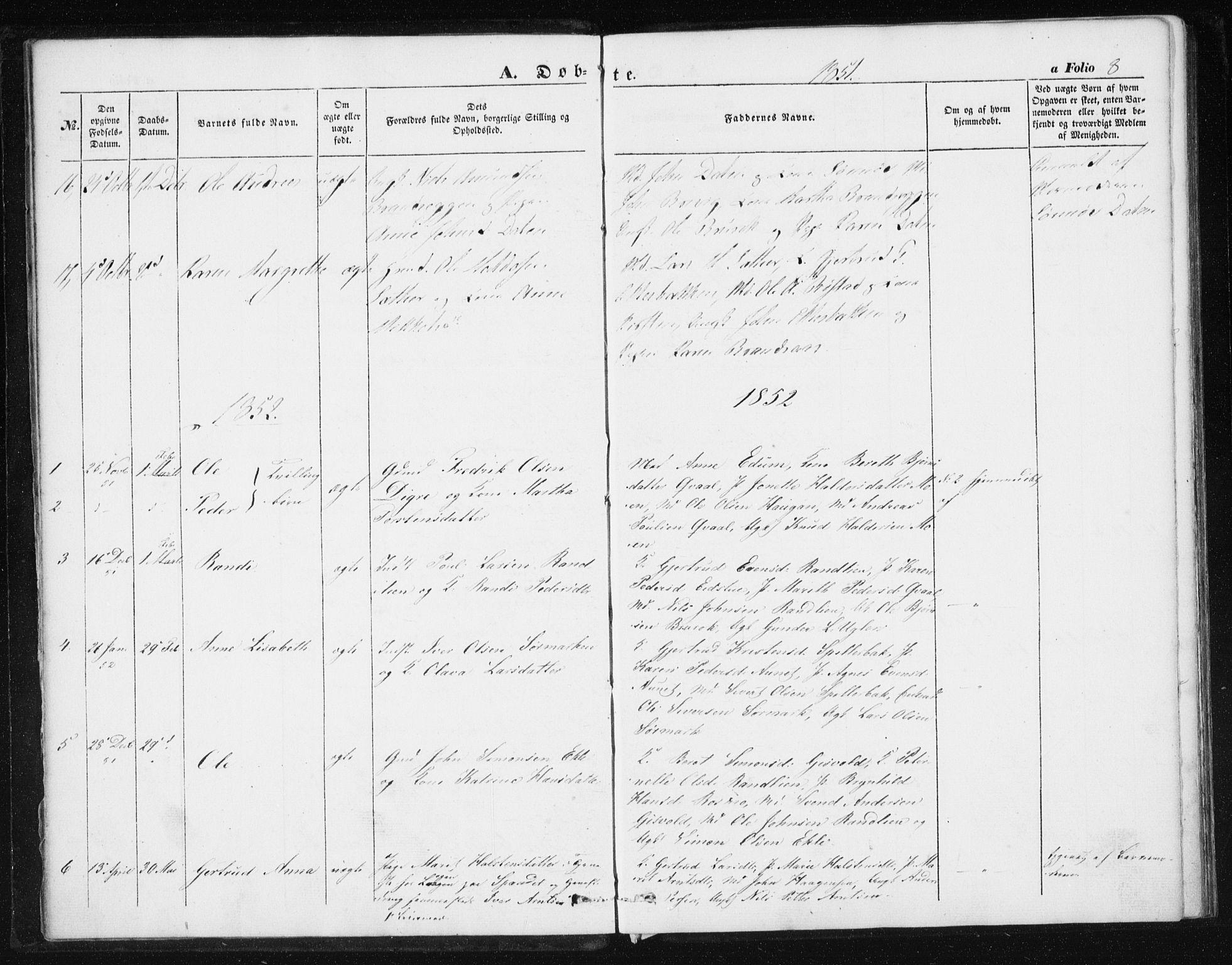 SAT, Ministerialprotokoller, klokkerbøker og fødselsregistre - Sør-Trøndelag, 608/L0332: Ministerialbok nr. 608A01, 1848-1861, s. 8