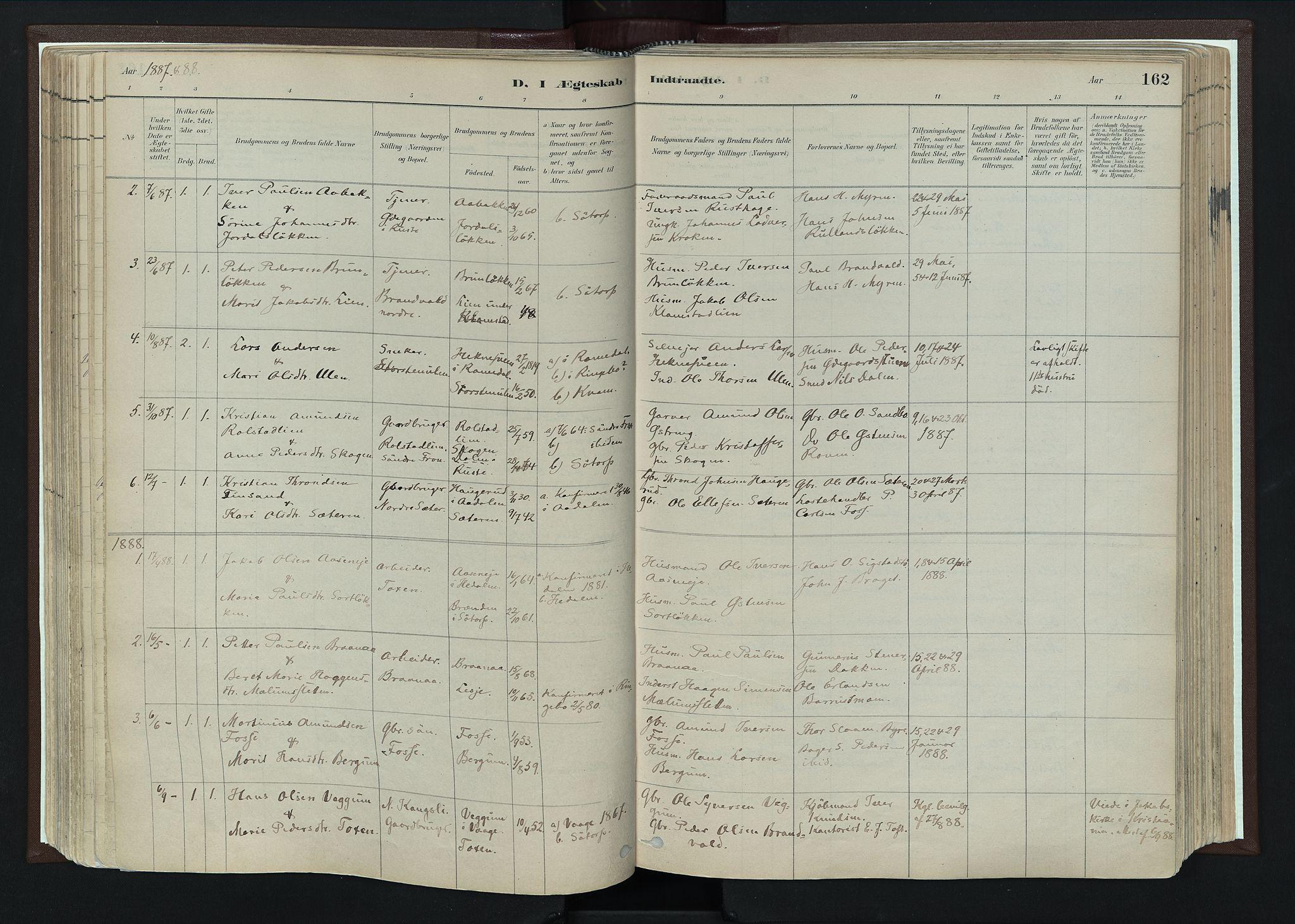 SAH, Nord-Fron prestekontor, Ministerialbok nr. 4, 1884-1914, s. 162