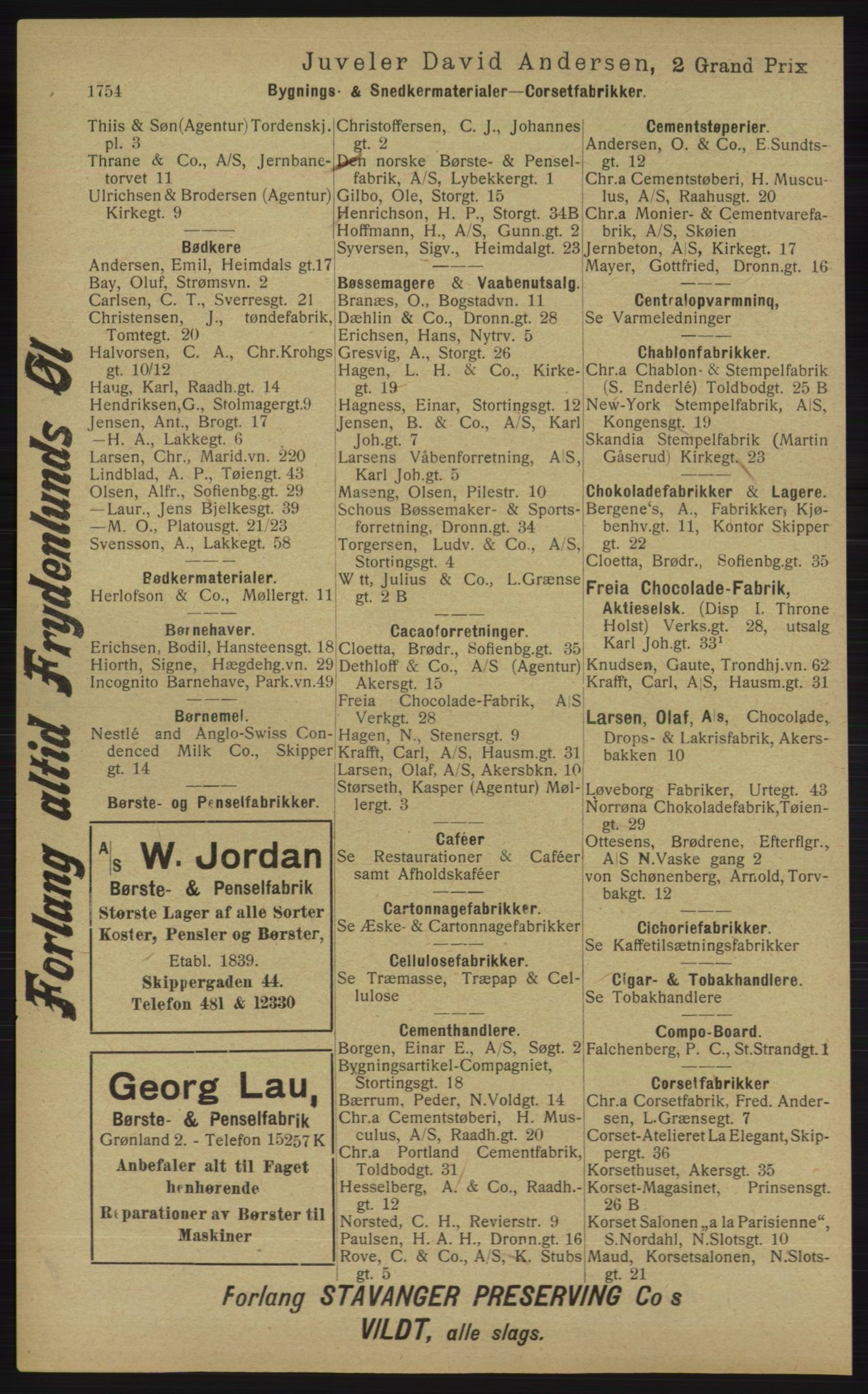 RA, Kristiania adressebok (publikasjon)*, 1913, s. 1754